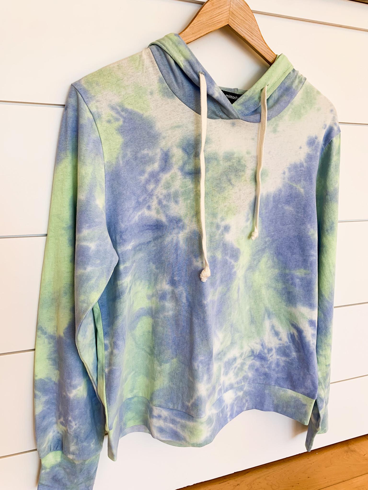 Mittoshop Green Multi Tie Dye Long Sleeve Hooded Top