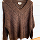 Coffee Bean V-Neck Knit Sweater