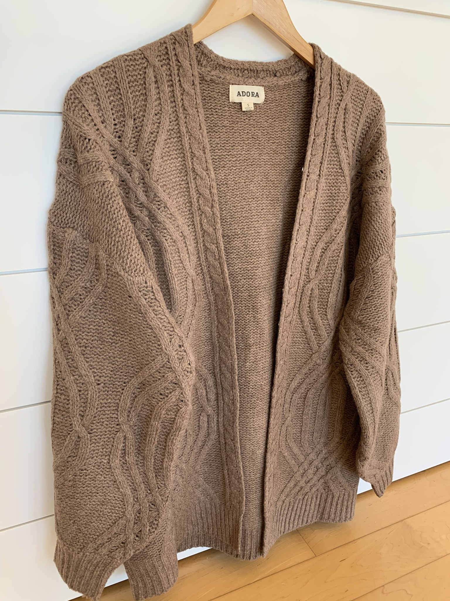 Mocha Cable Knit Open Front Cardigan