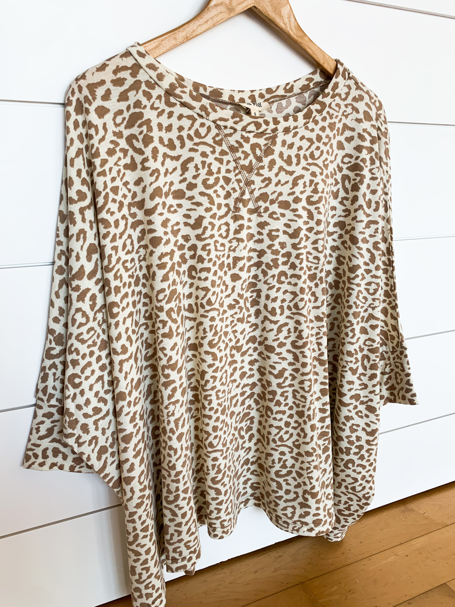 Ivory Animal Print Poncho Oversized Top