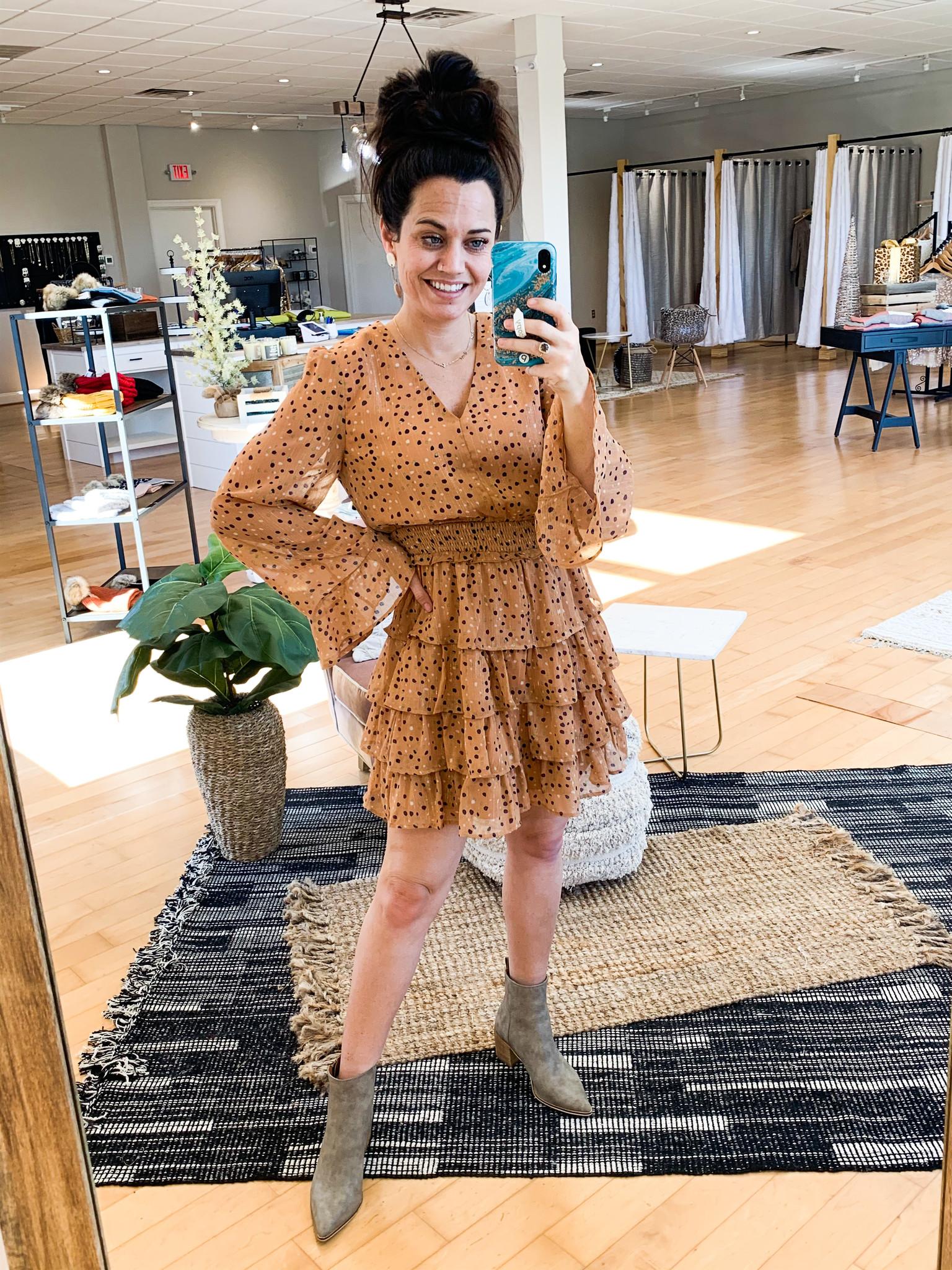 Very J Camel Tiered V Neck Dress