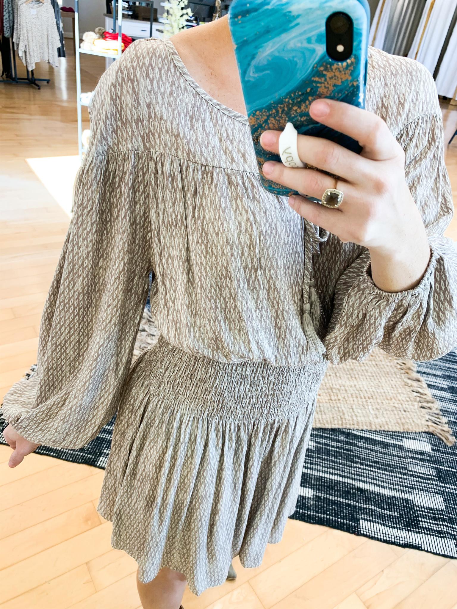 Taupe Printed Elastic Waist Dress