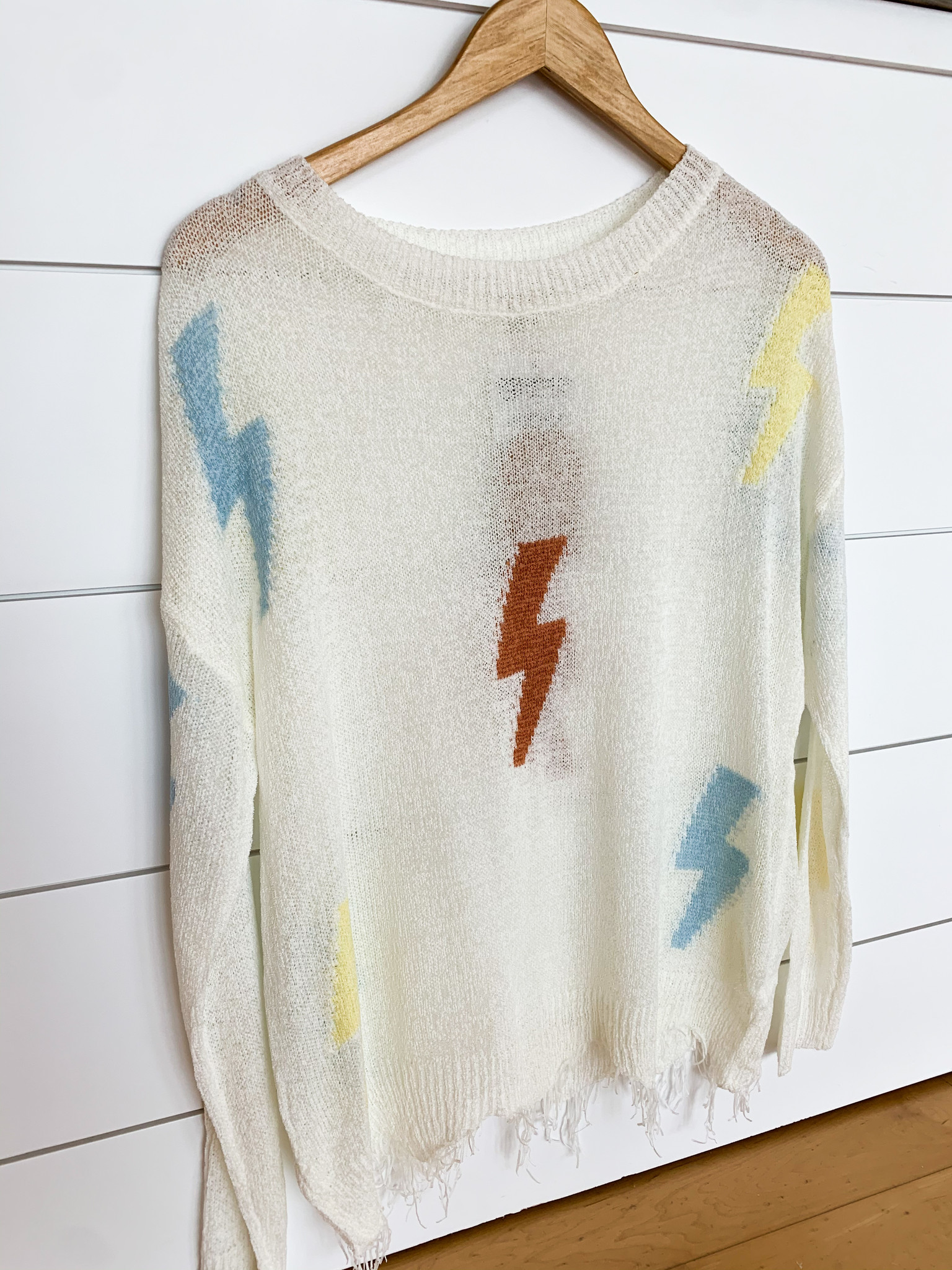 Main Strip Apparel Round Neck Distressed Thunder Print Sweater