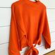 Orange Mock Neck Waist Belt Sweater
