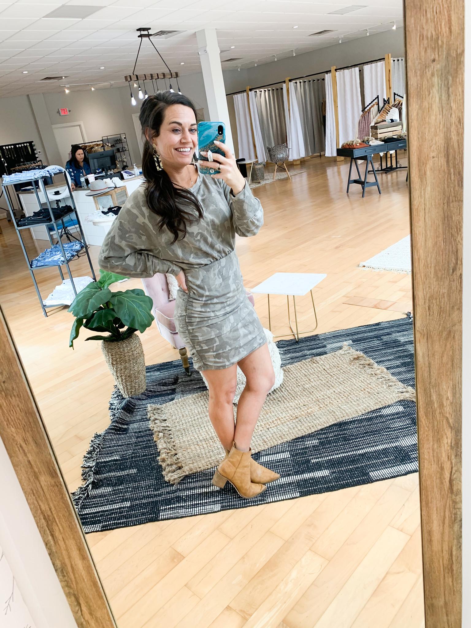 Olive Camo Long Sleeve Dress