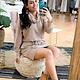 Khaki Long Sleeve Mock Neck Dress