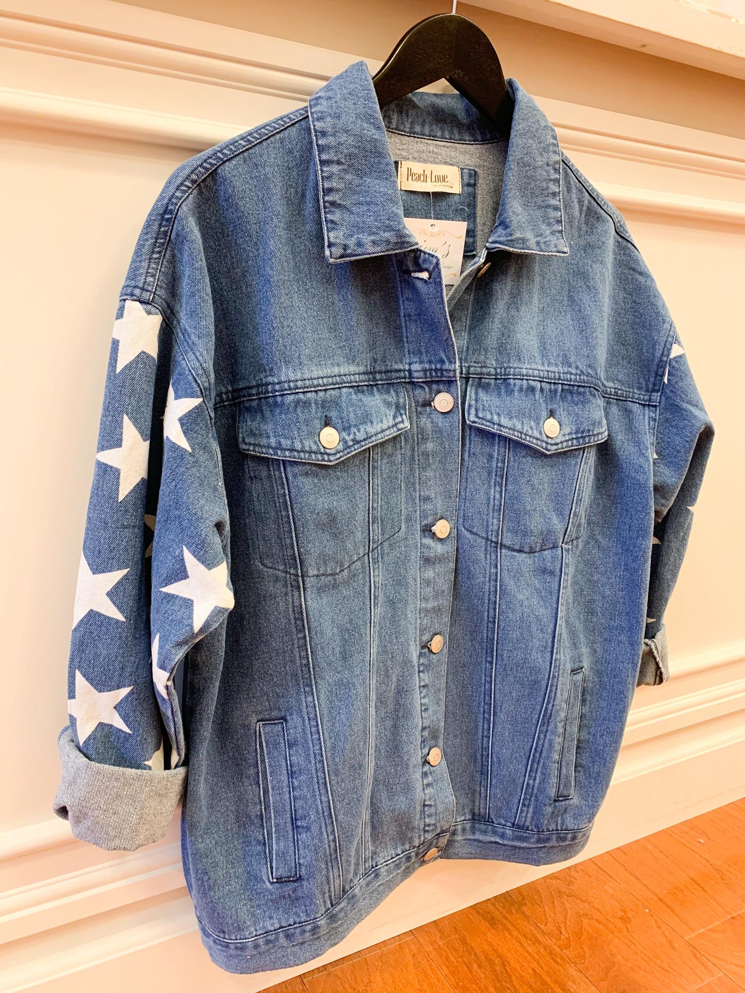 Denim Star Print Jacket