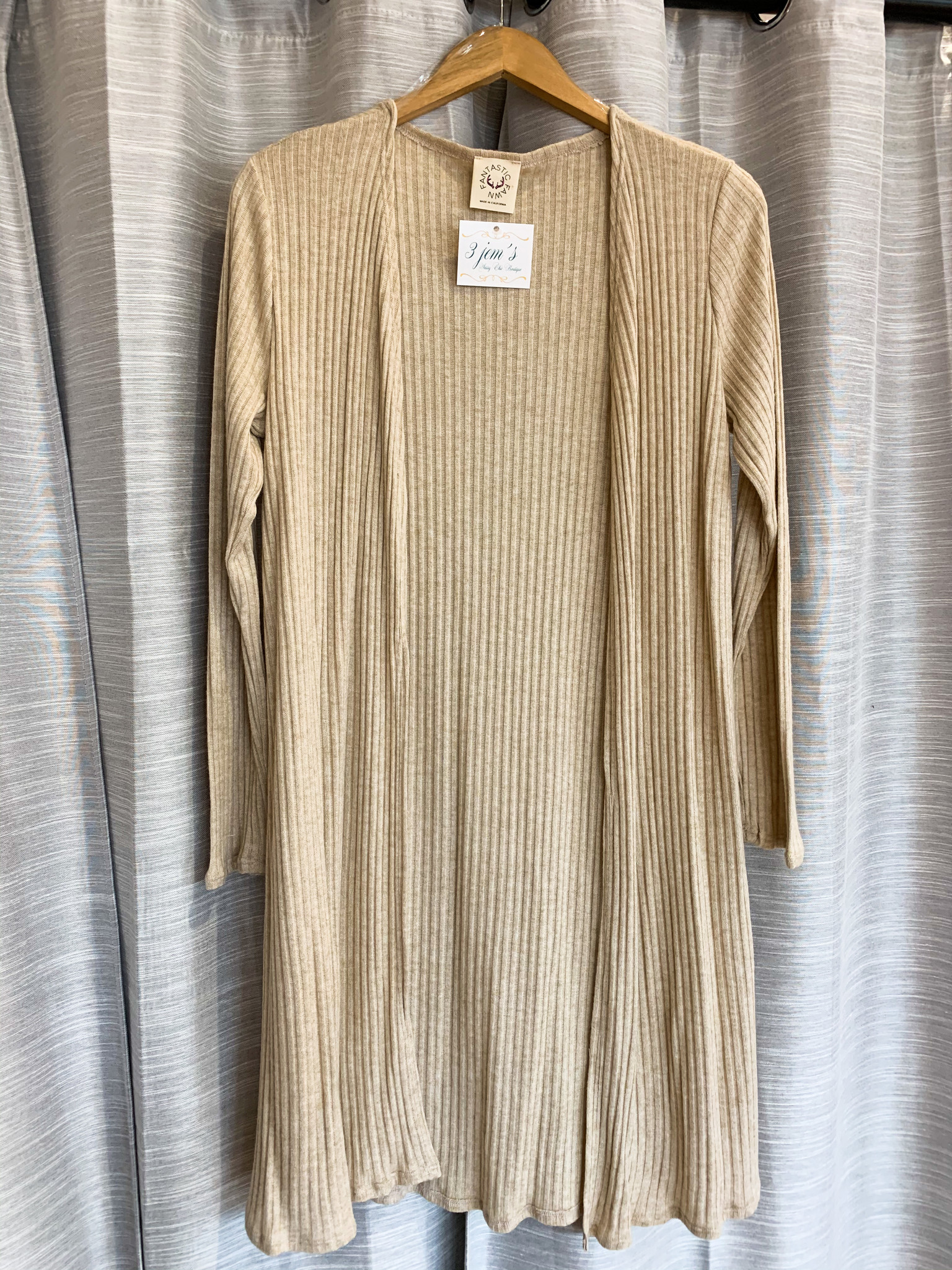 Taupe Rib Knit Duster Cardigan