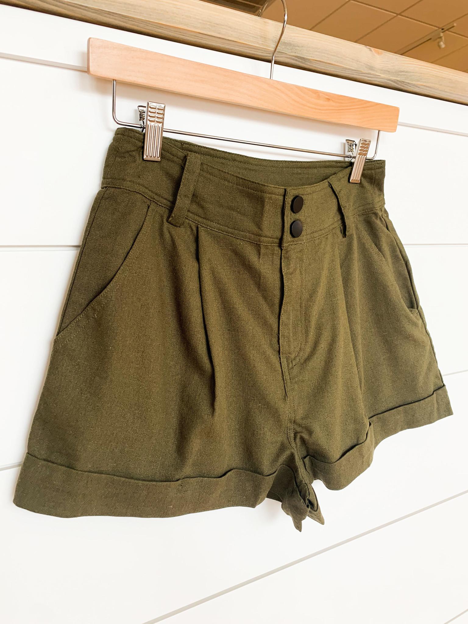 Olive High Waist Linen Shorts