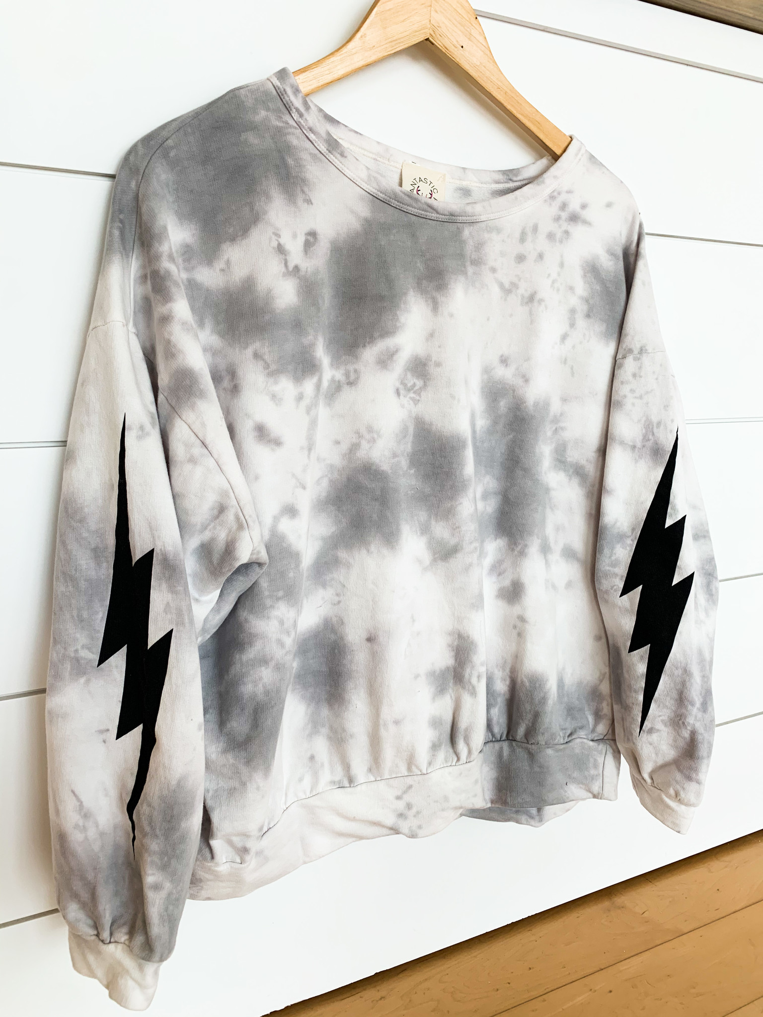 Grey Tie Dye Lightning Bolt Sweatshirt