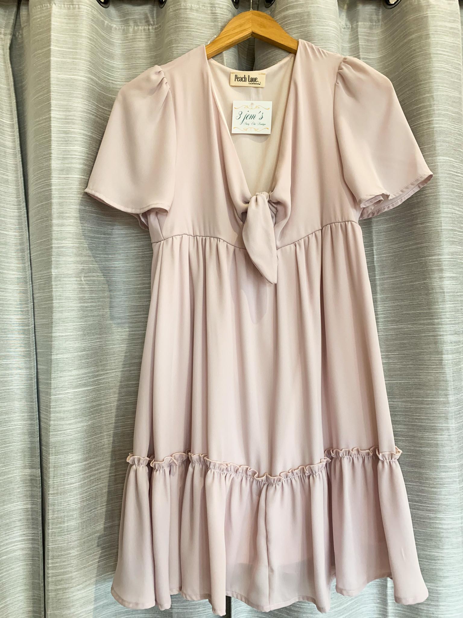 Nude Short Sleeve Ruffle Dress