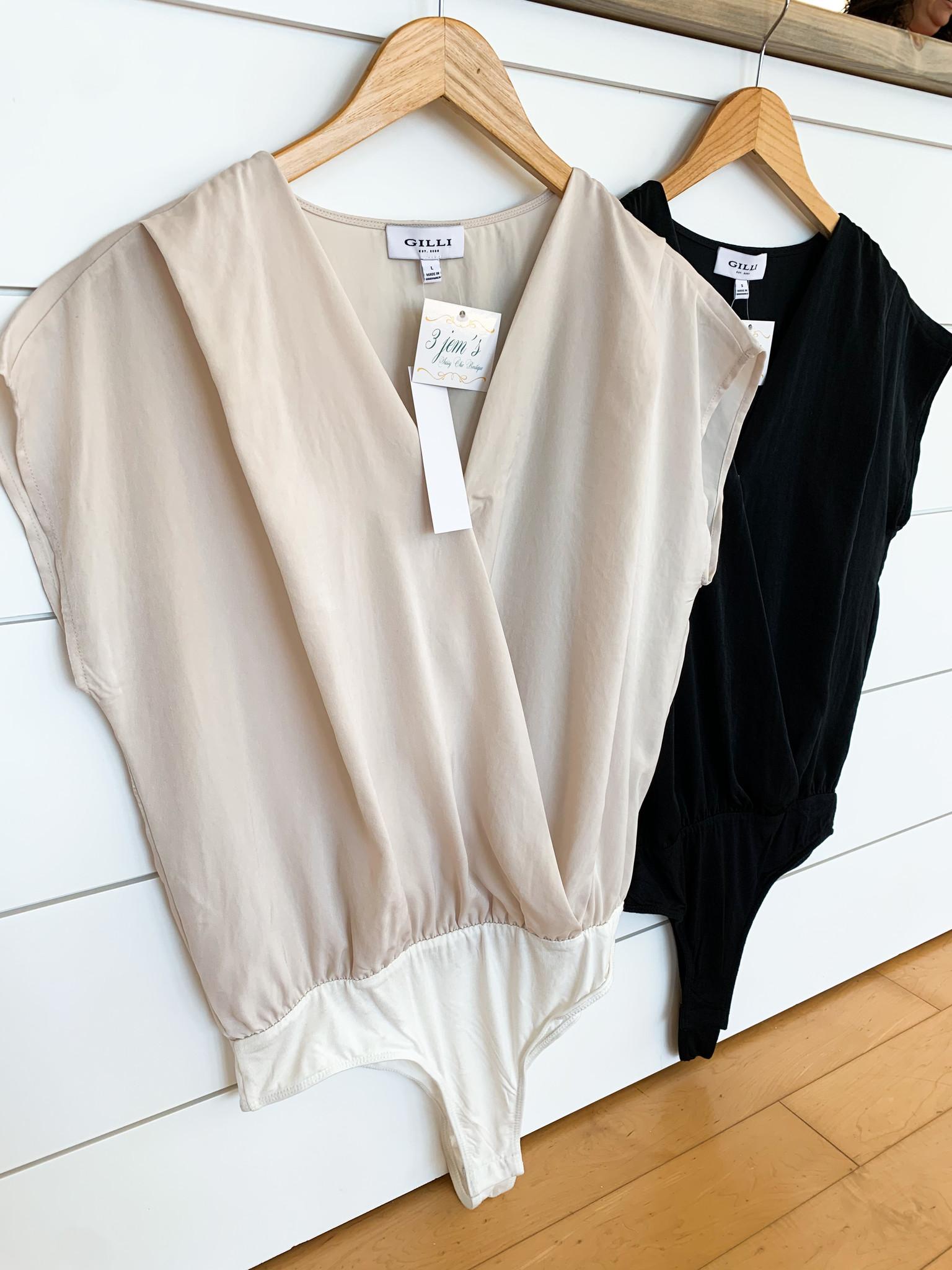 Dolman Sleeve Surplice Bodysuit