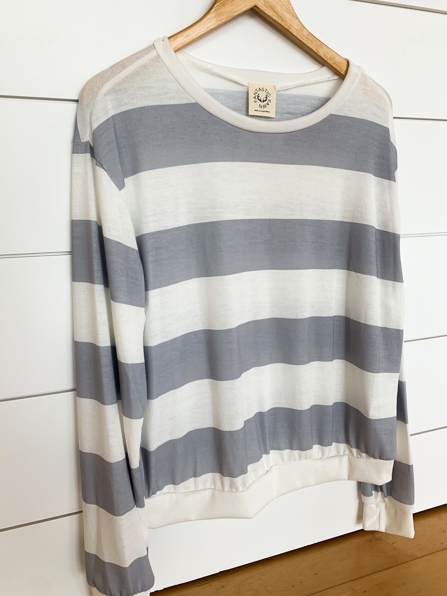 White/Grey Wide Stripe Sweatshirt