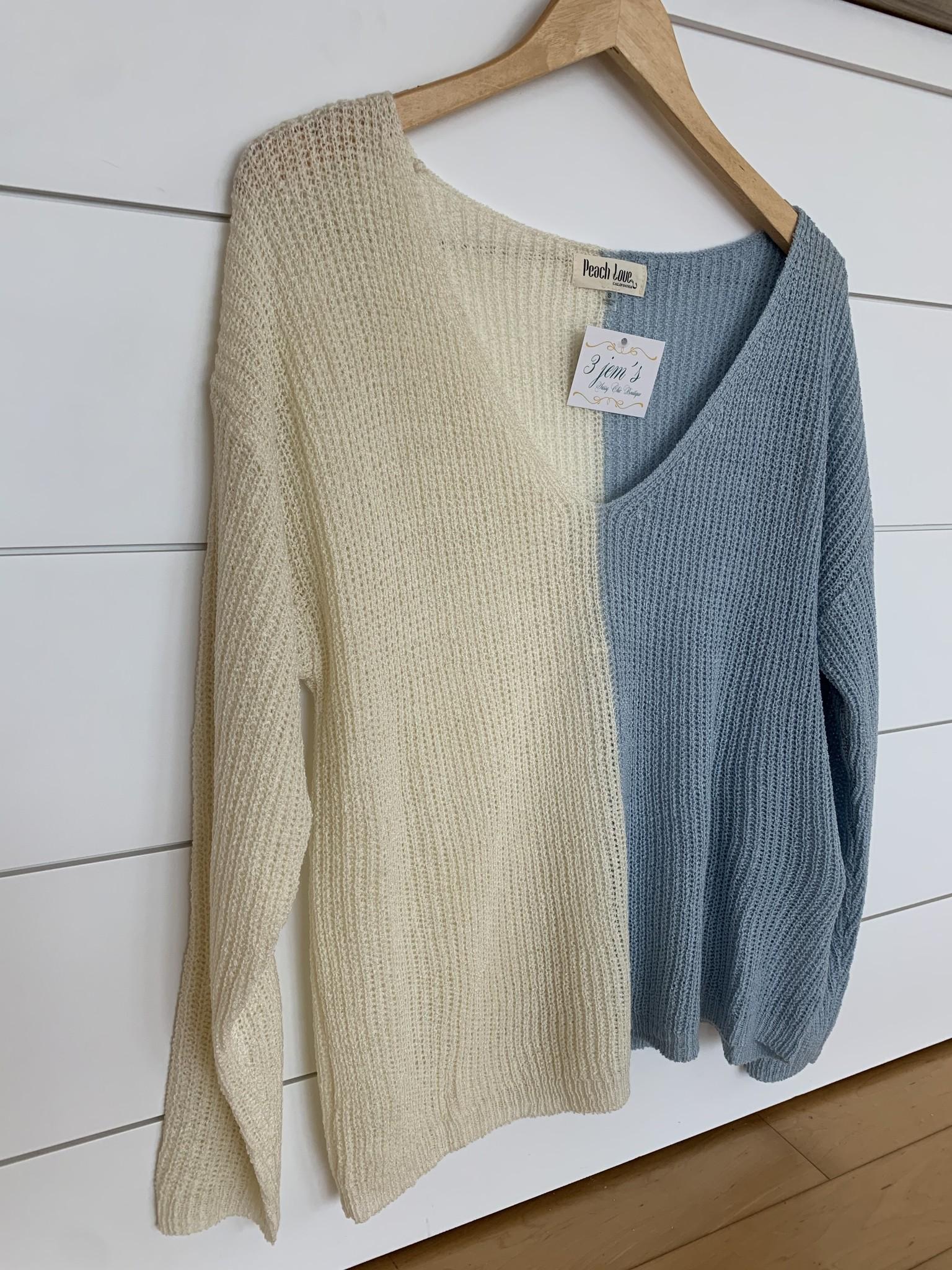 Ivory/Blue Color Block Lightweight Sweater