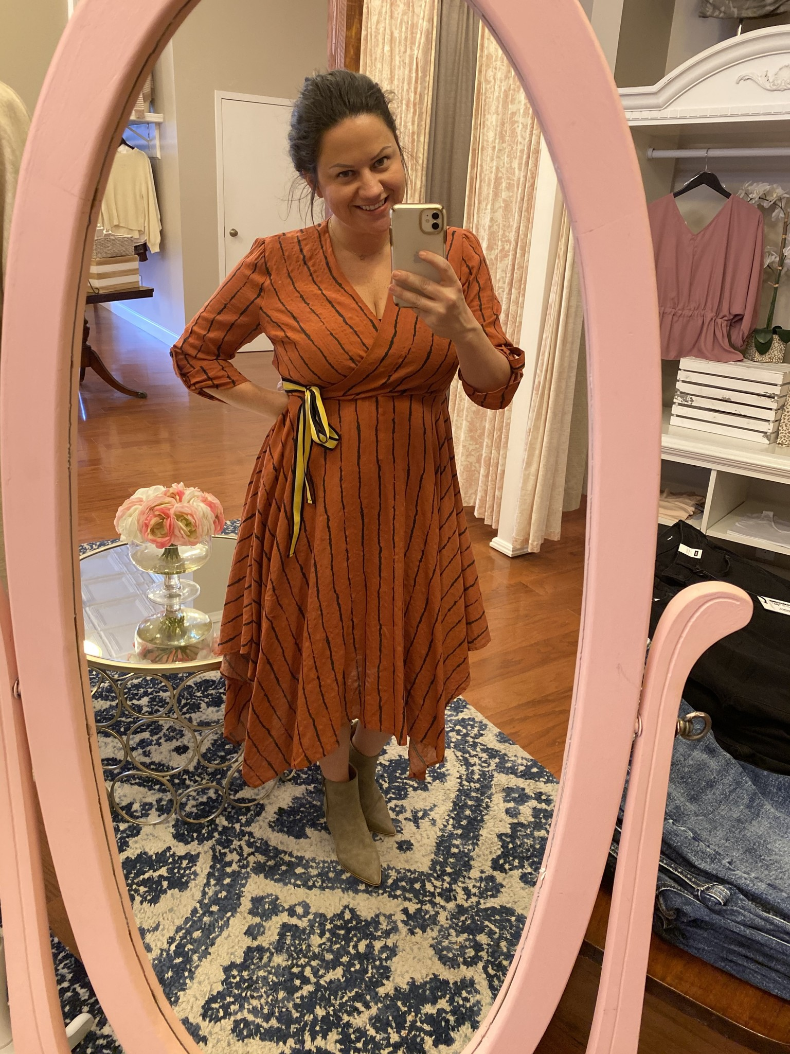 Ces Femme Rust Uneven Hem Wrap Dress