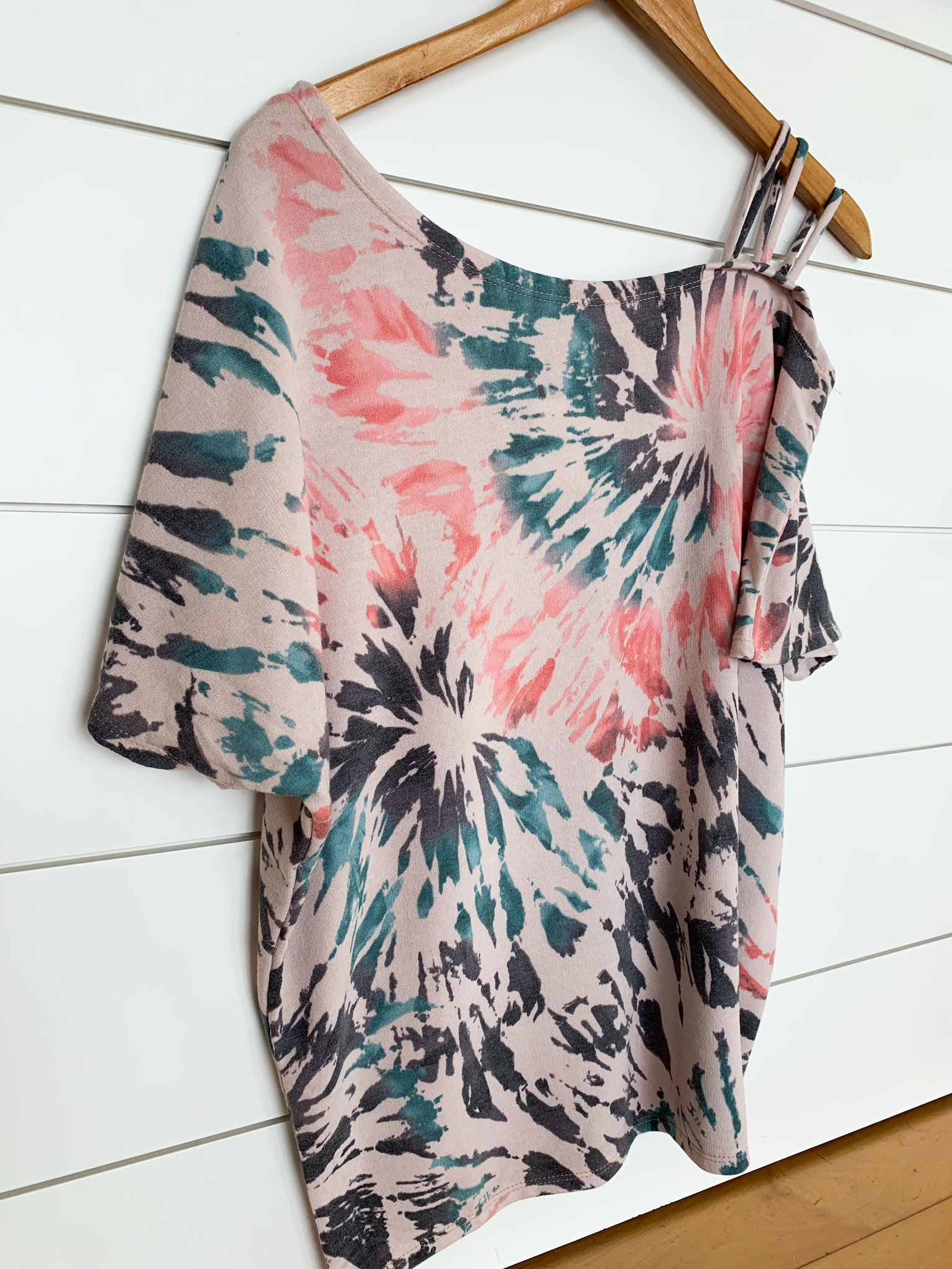 Tie Dye French Terry Strapped One Shoulder Top