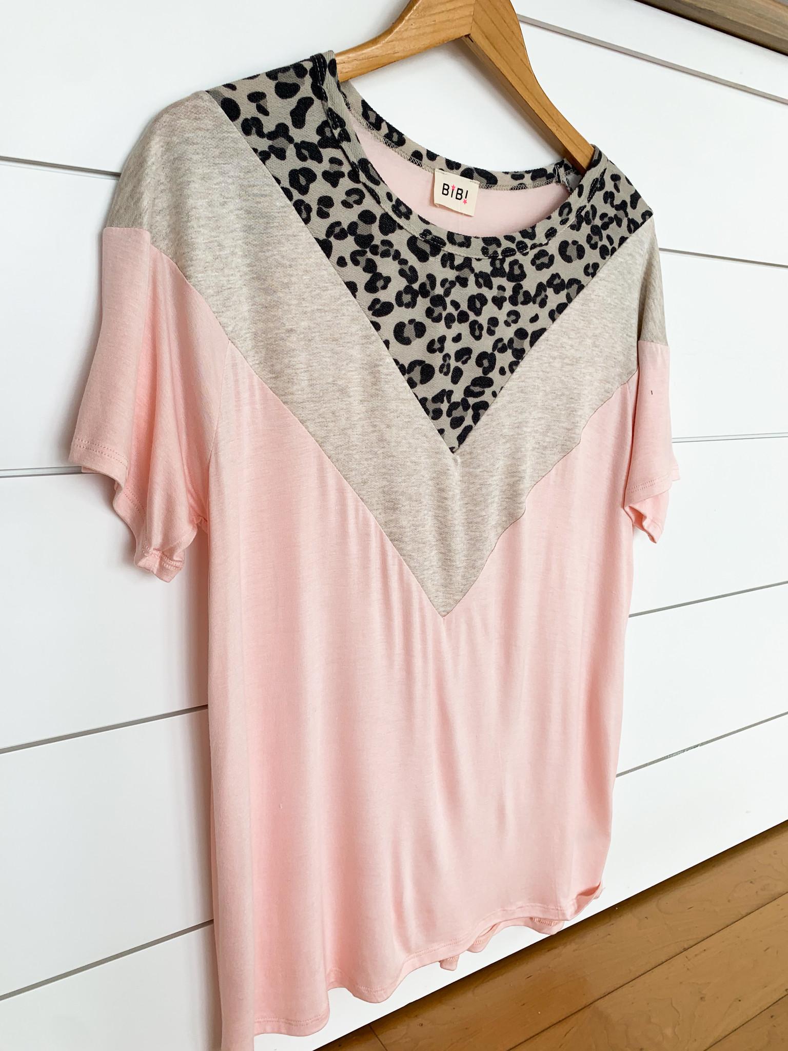 Blush/Leopard Jersey Knit V-Shape Color Block Top