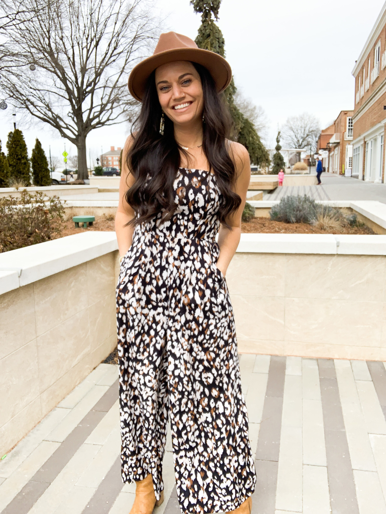 Black Printed Strapless Jumpsuit