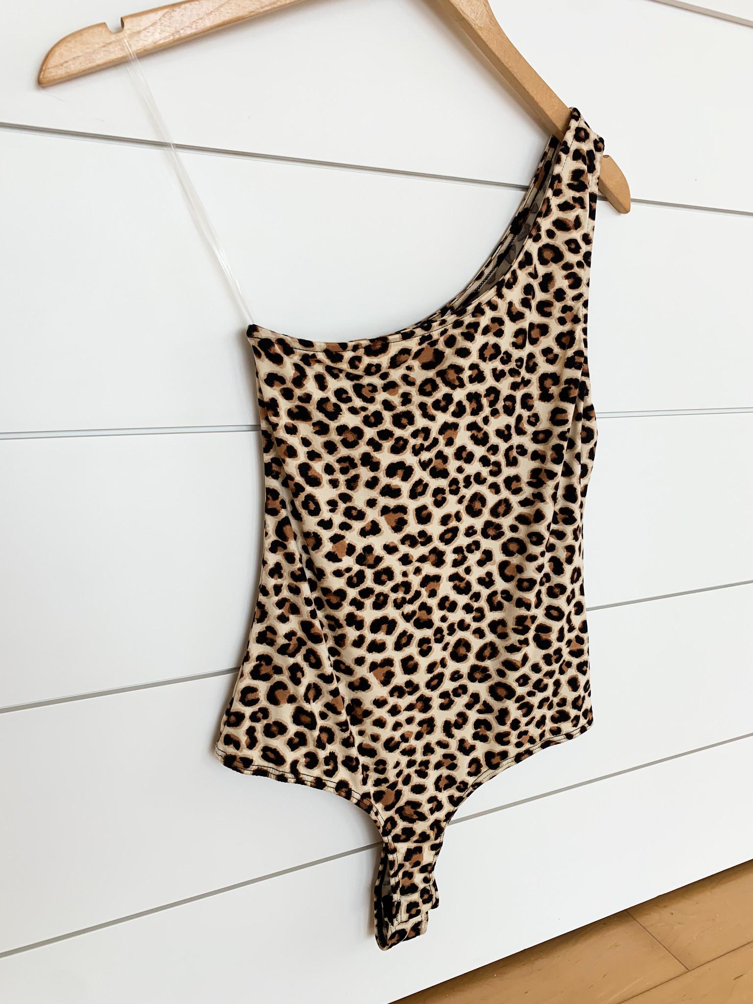 Cheetah Print One Shoulder Bodysuit