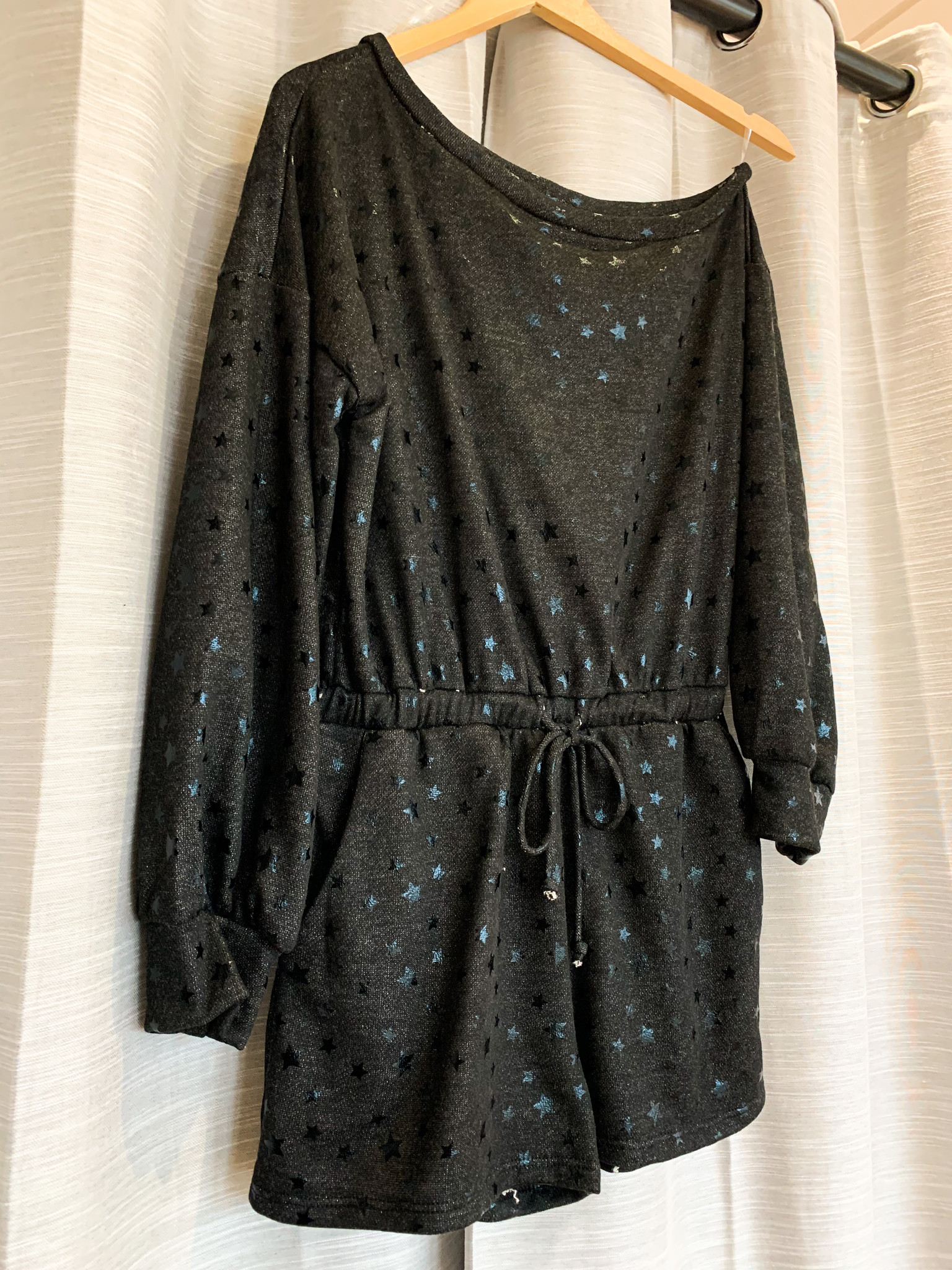 Black Star Long Sleeve Romper