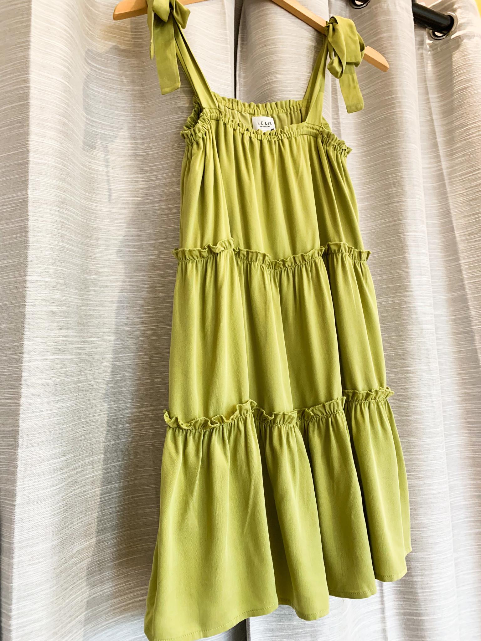 Avocado Tiered Shoulder Tie Dress