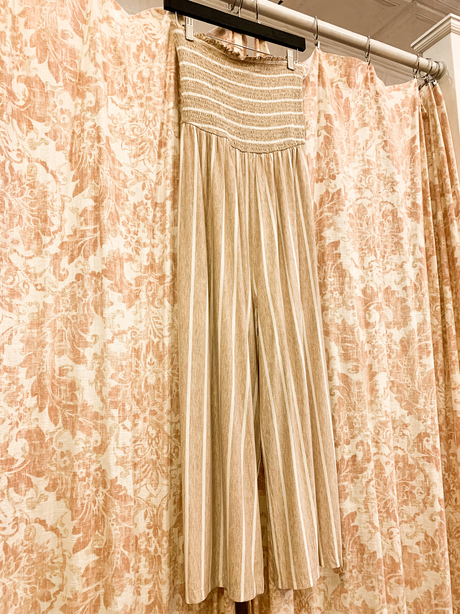 Oatmeal/White Strapless Stripe Jumpsuit