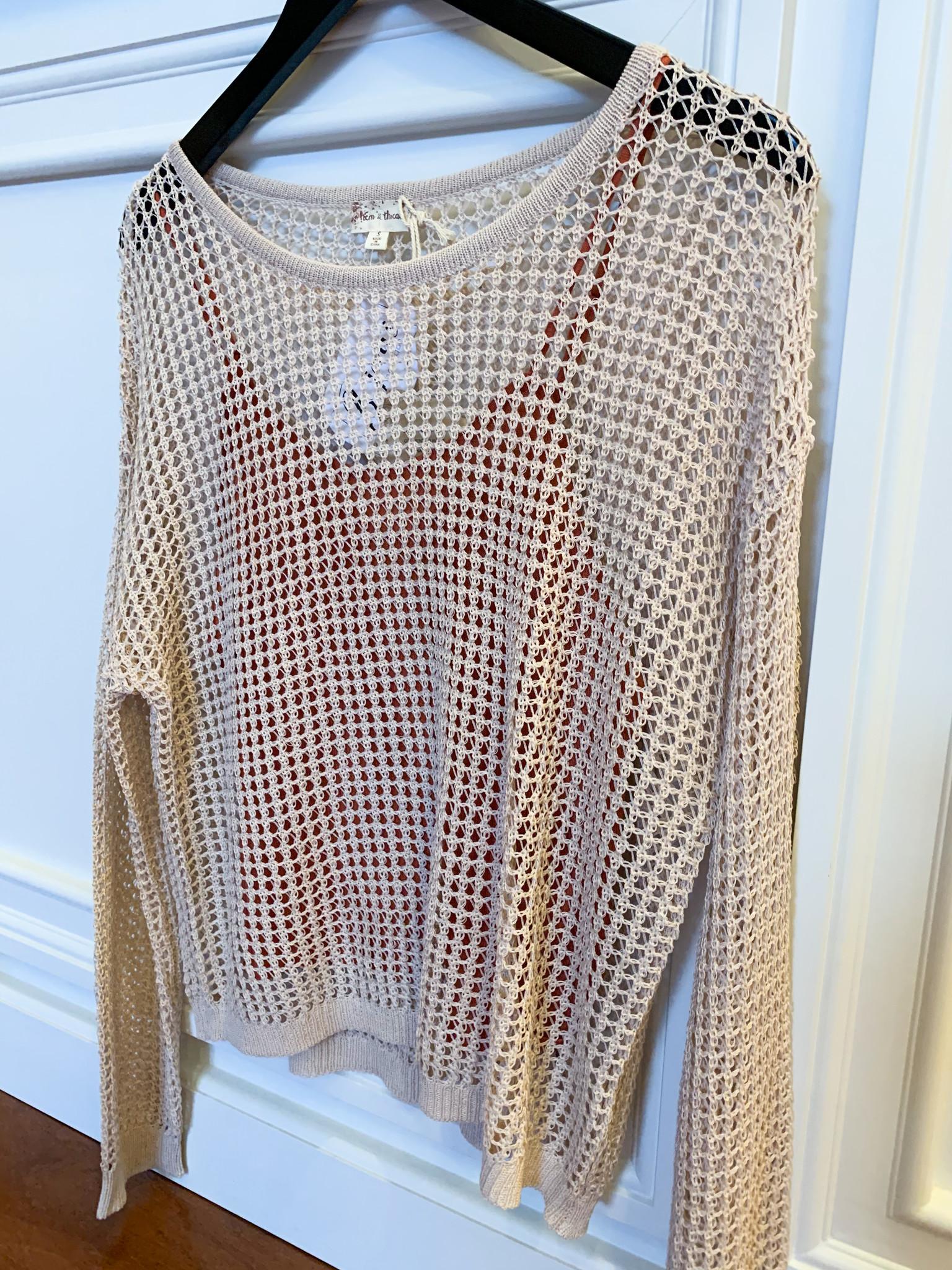 Beige Crochet Pullover Top