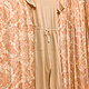 Taupe/Ivory Pin Stripe Boat Neck Jumpsuit