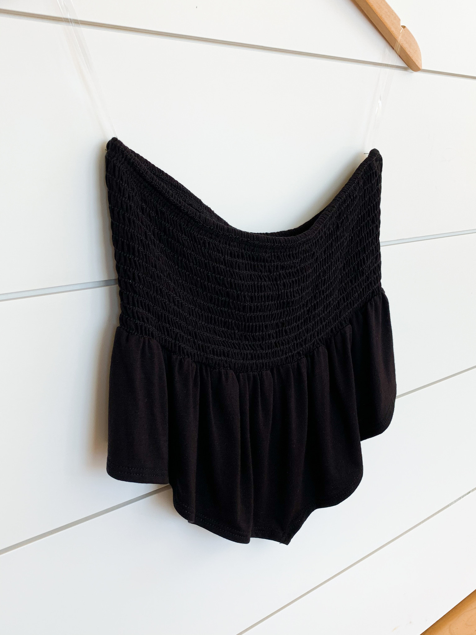 Black Ruffled Smocked Strapless Top