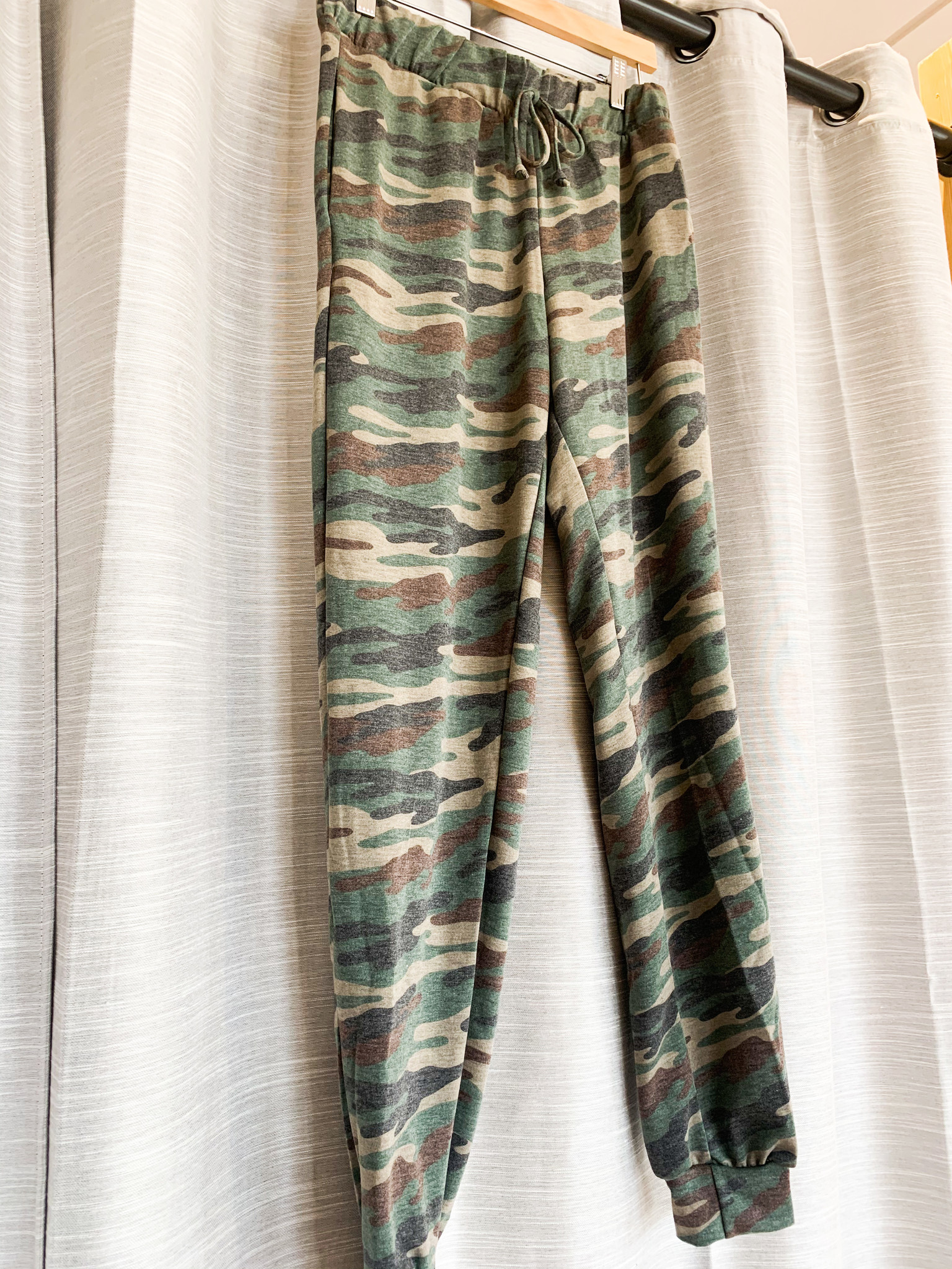 Olive Camo Print Jogger Pants