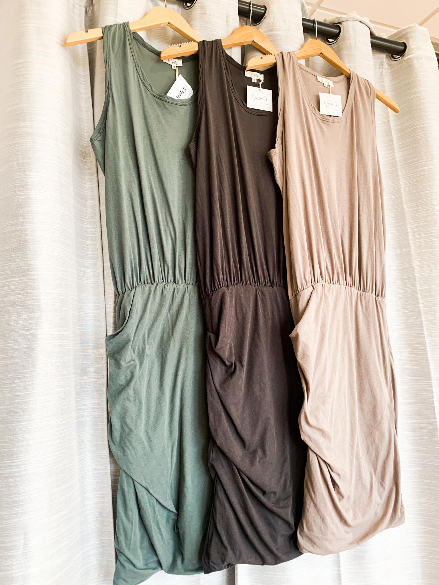 Sleeveless Racerback Elastic Waist Dress