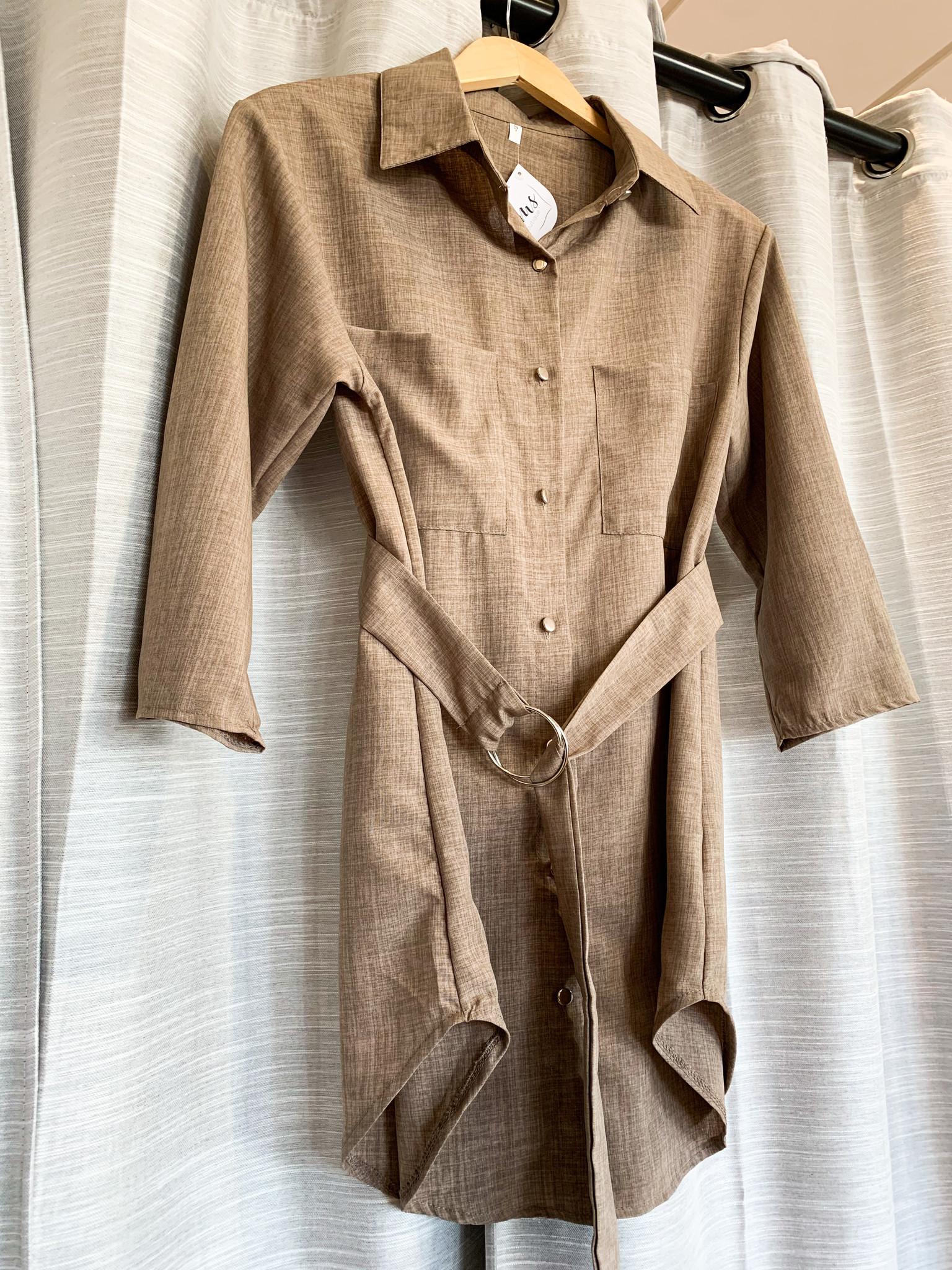Khaki Collar Belted Dress