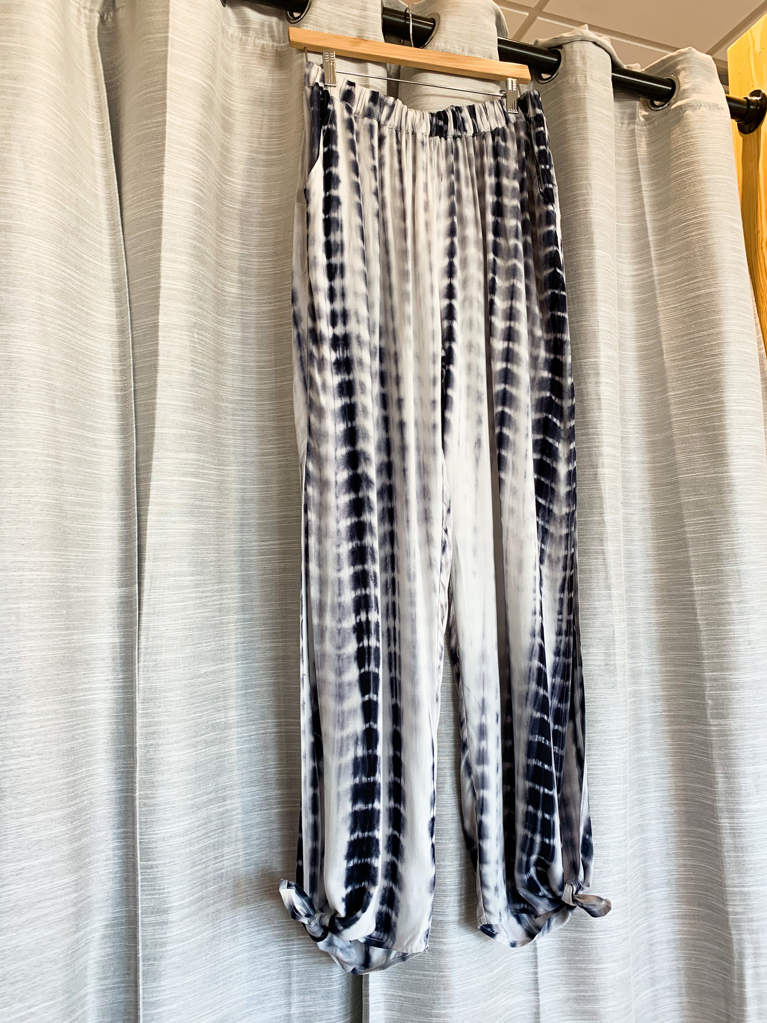 Black/Charcoal Tie Dye Elastic Waist Bottom Tie Pants