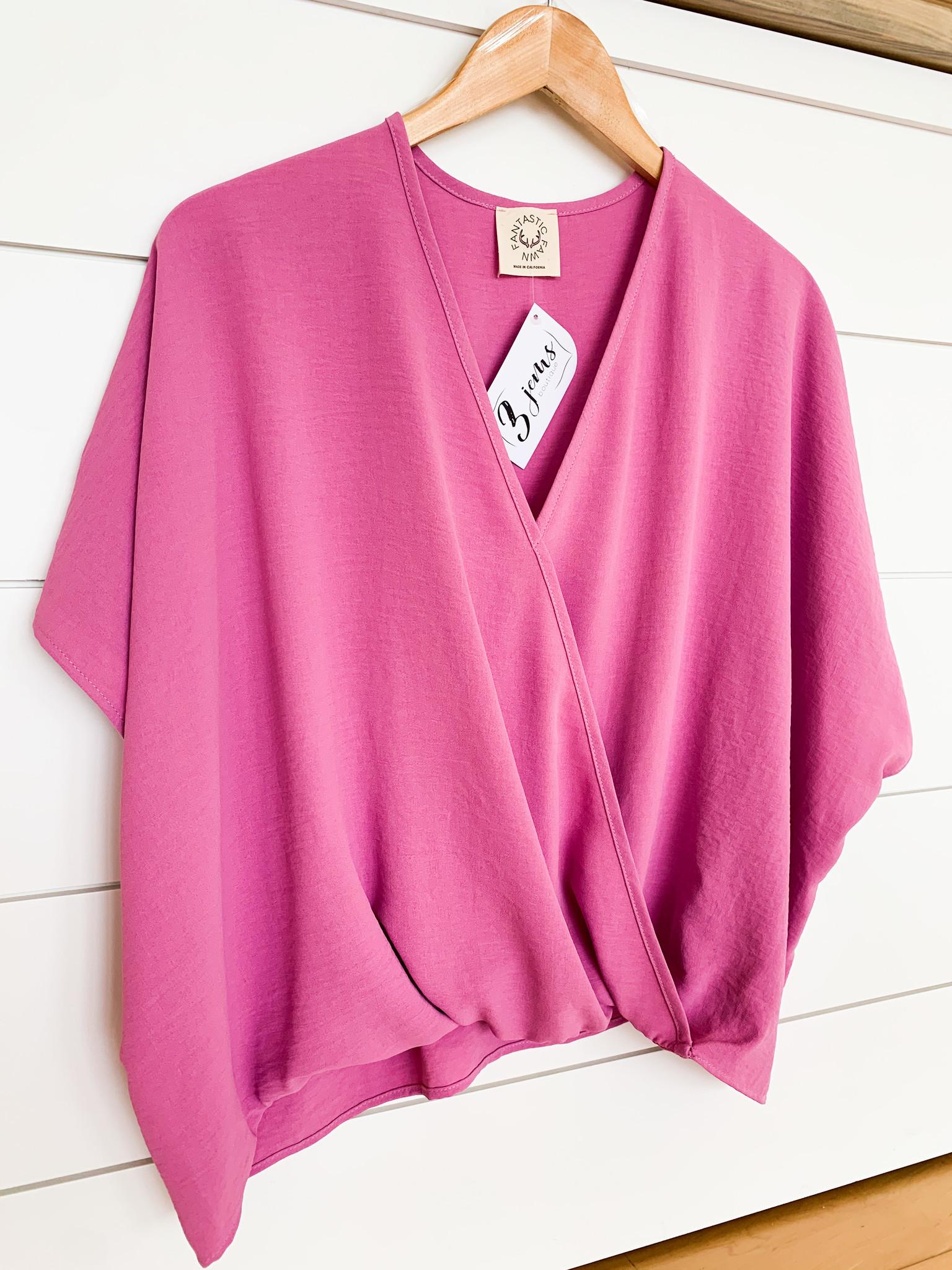 Pink Fold Under V Neck Top
