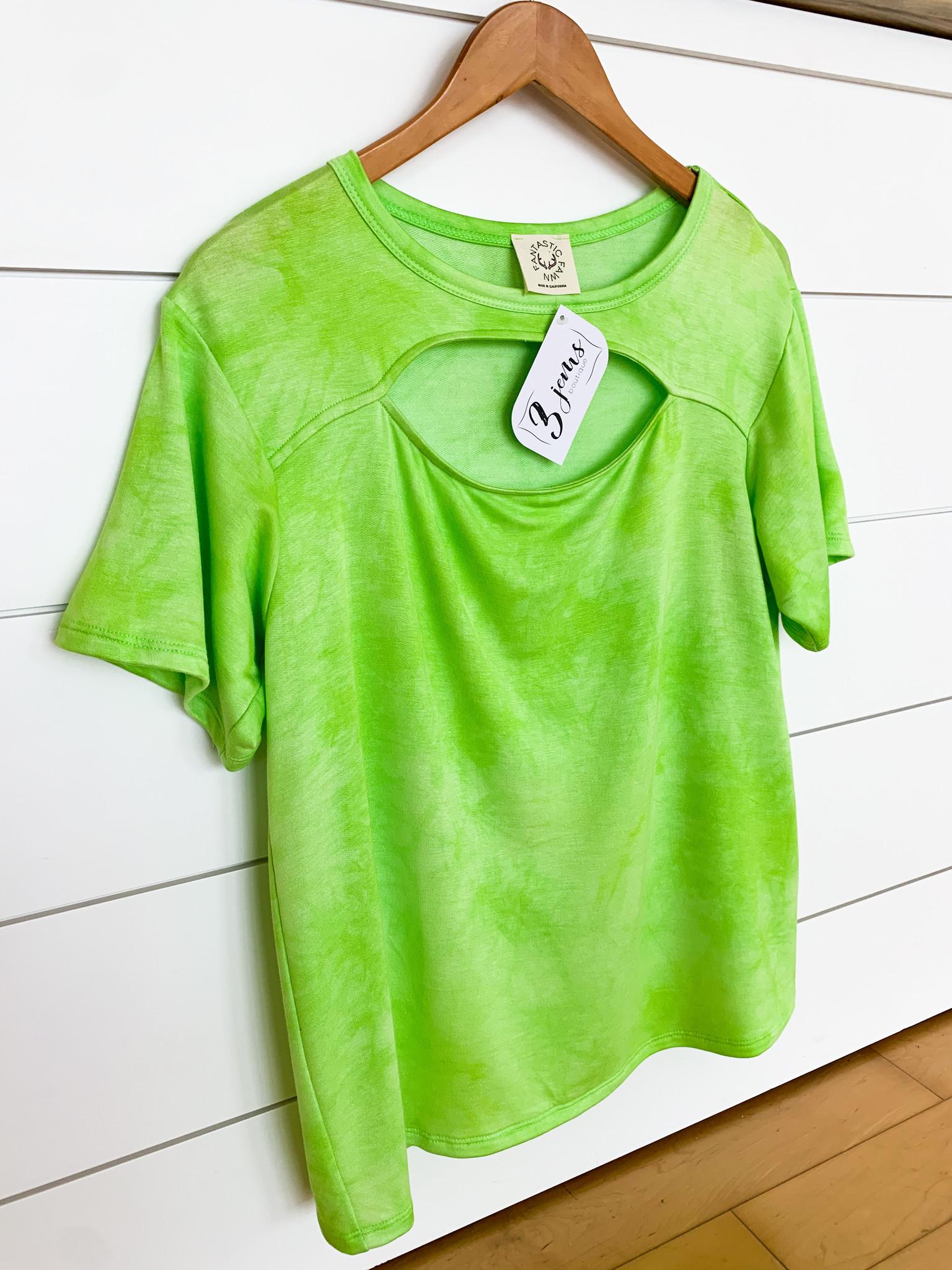 Bright Green Cutout Neck Top