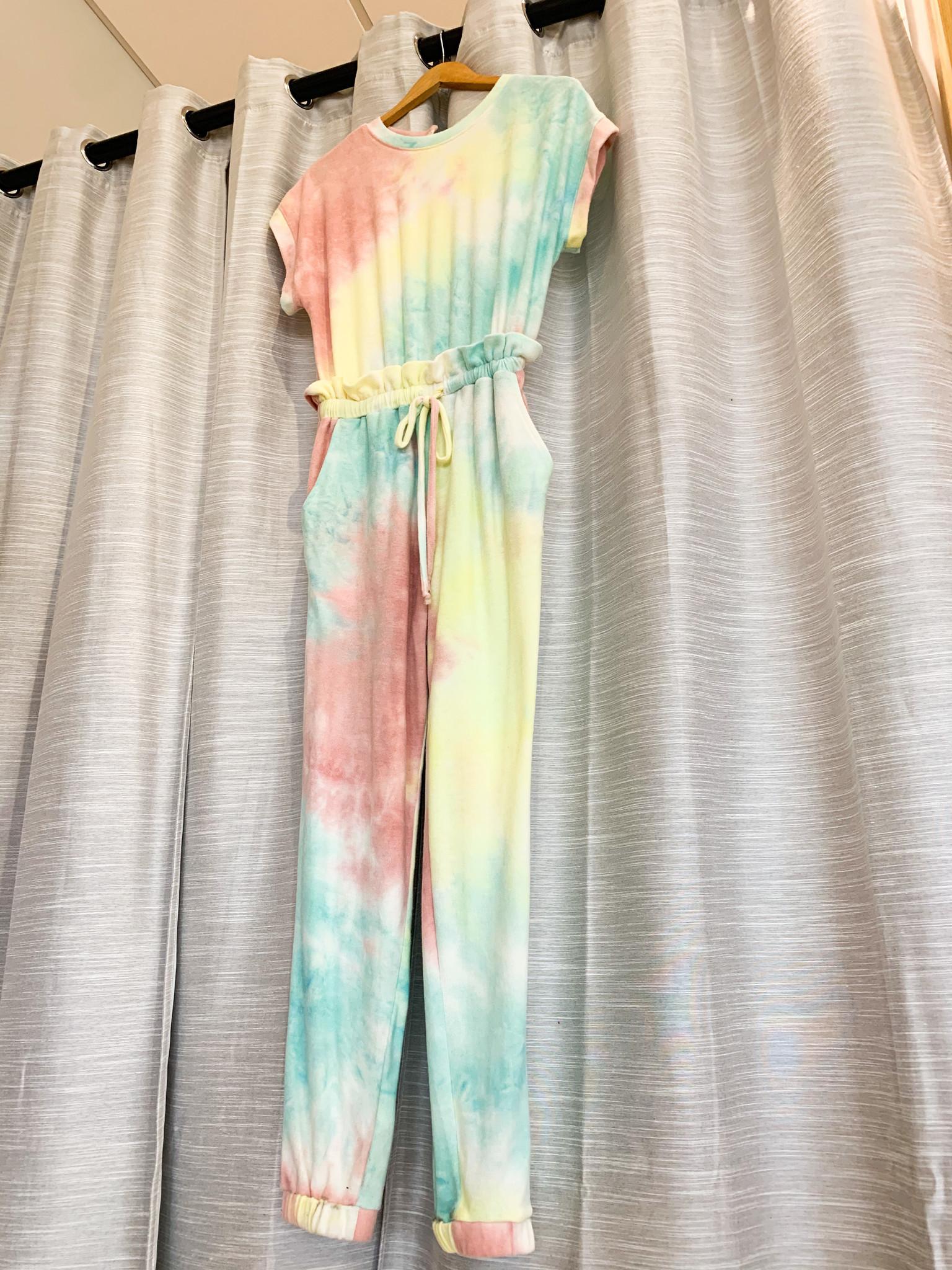 Multi Colored Tie Dye Short Sleeve Jumpsuit