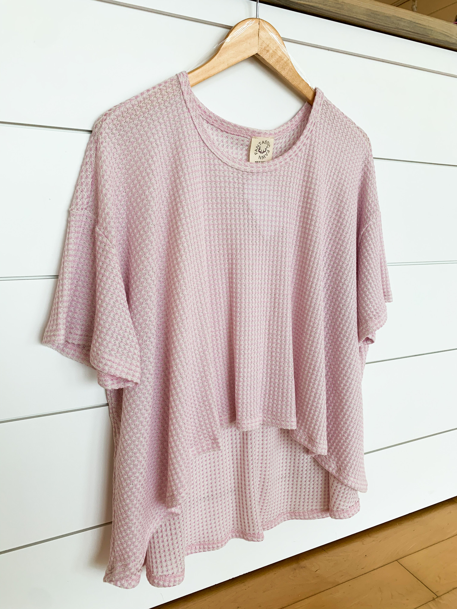 Pink Two Tone High Low Loose Fit Top
