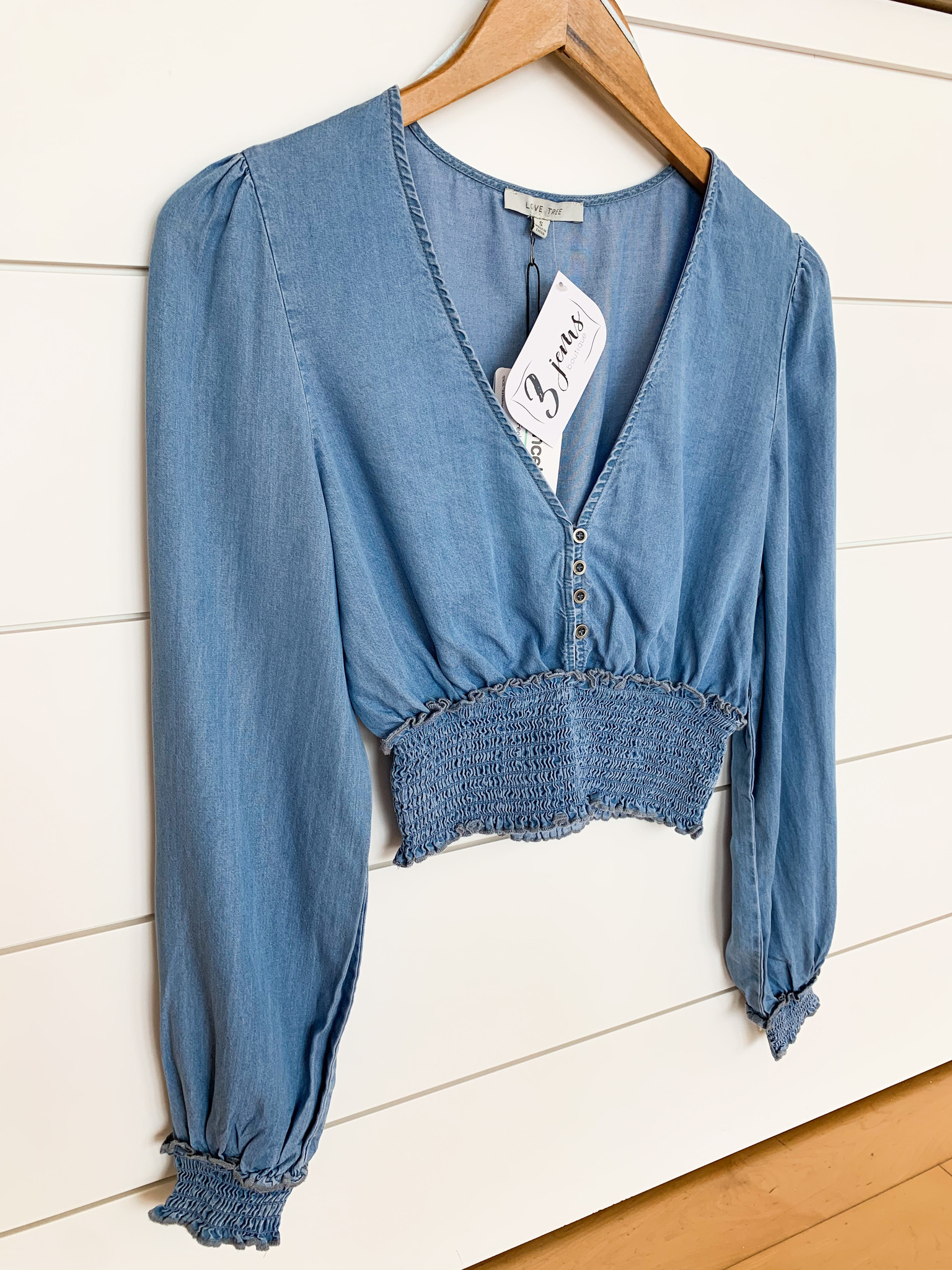 Blue Smocked Button Cropped Blouse