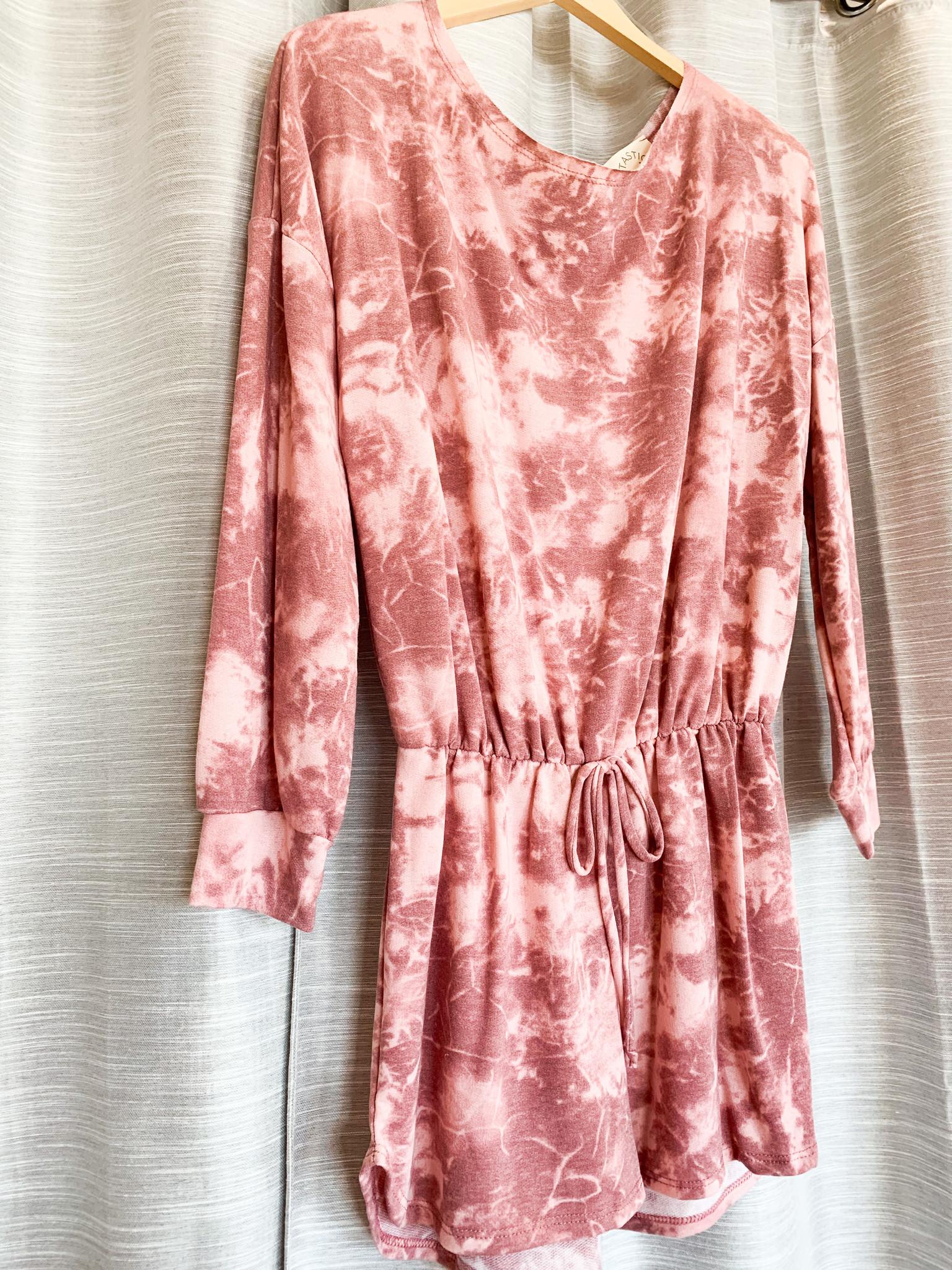 Mauve/Burgundy Tie Dye Knit Romper