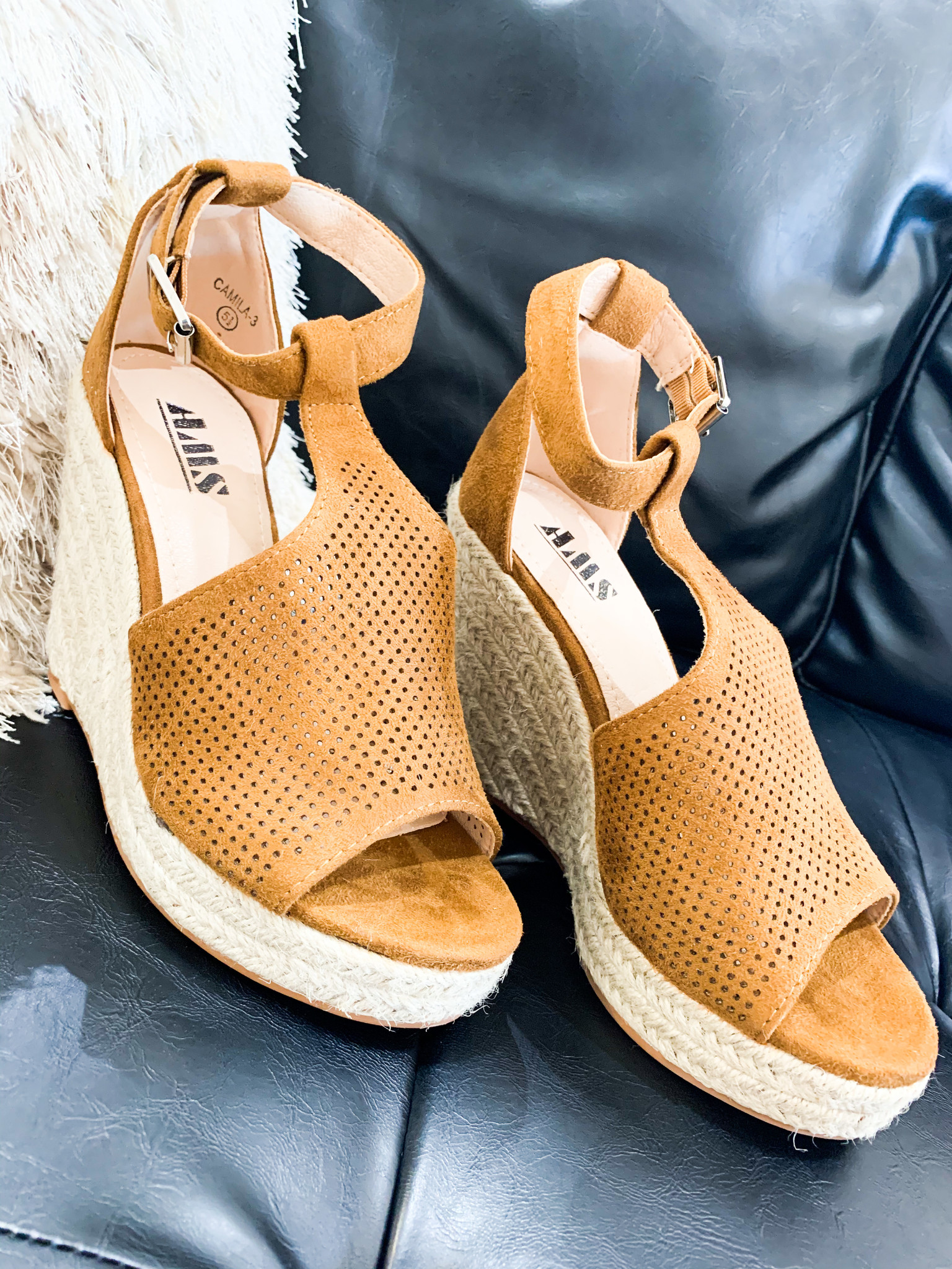 Tan Buckle Strap Wedge