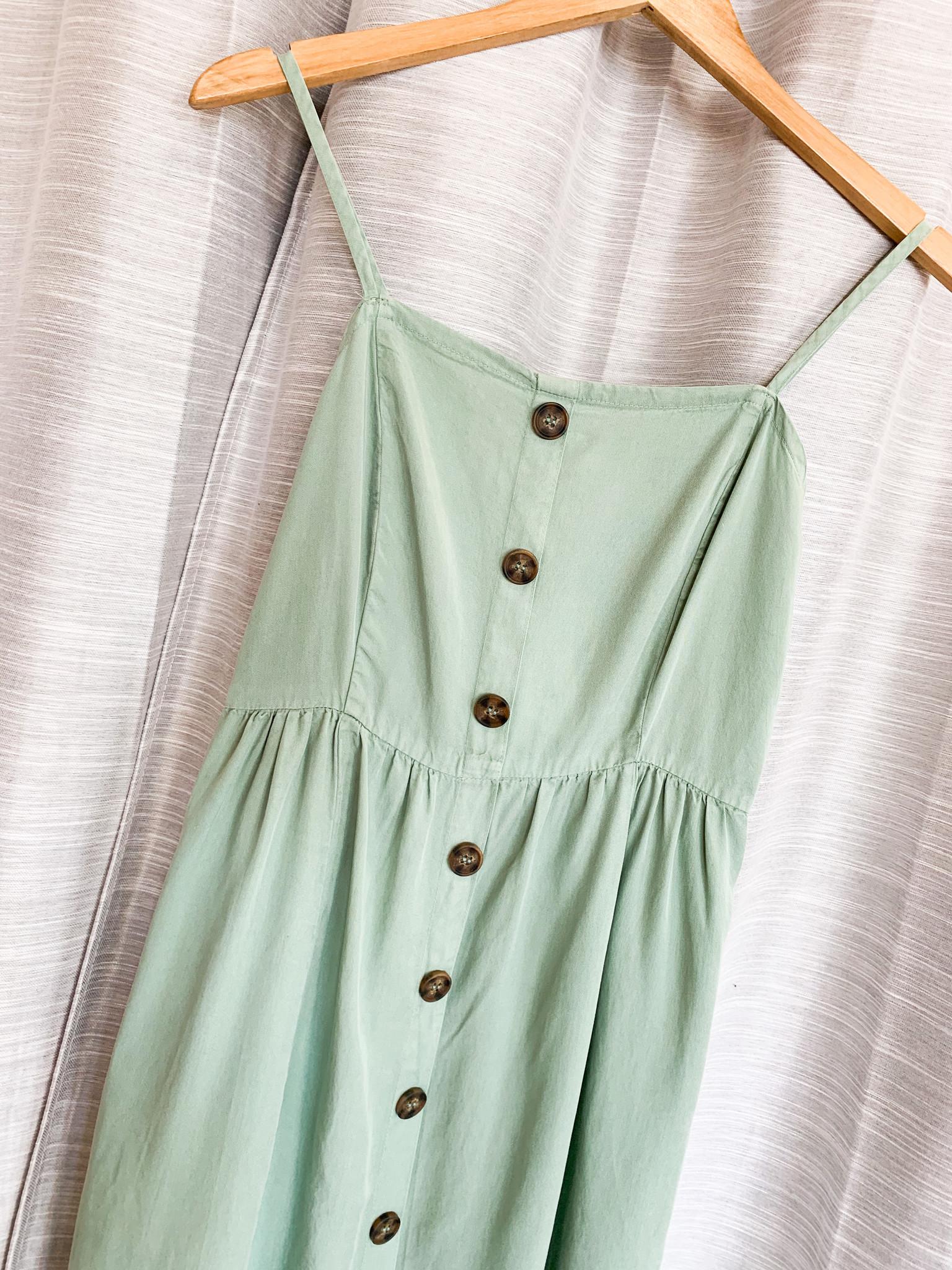 Spearmint Button Down Midi Dress