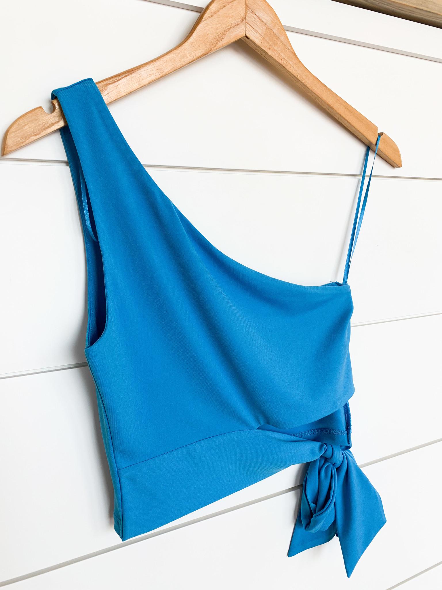 Blue One Shoulder Tie Side Top