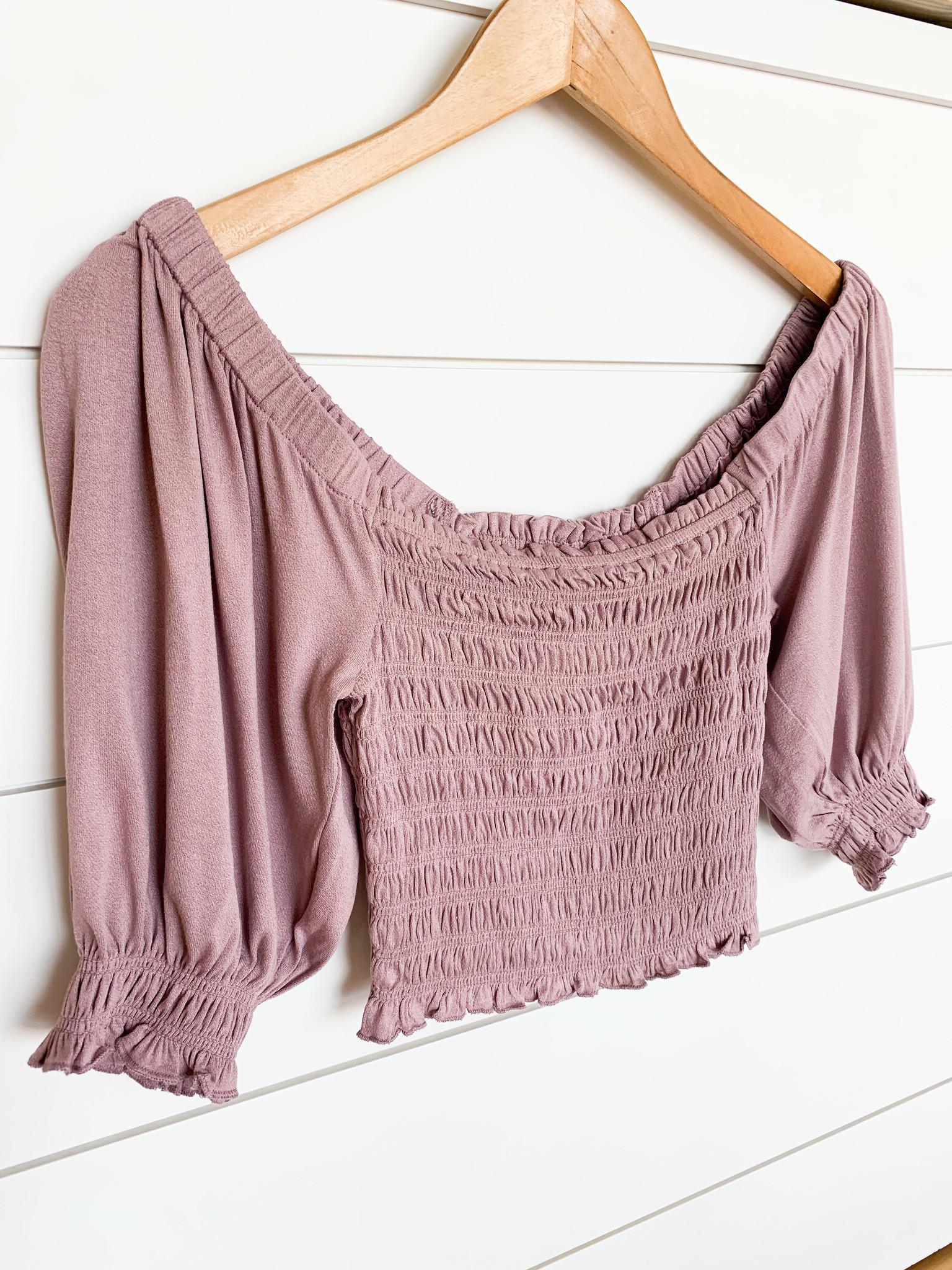Lavender Bubble Sleeve Crop Top
