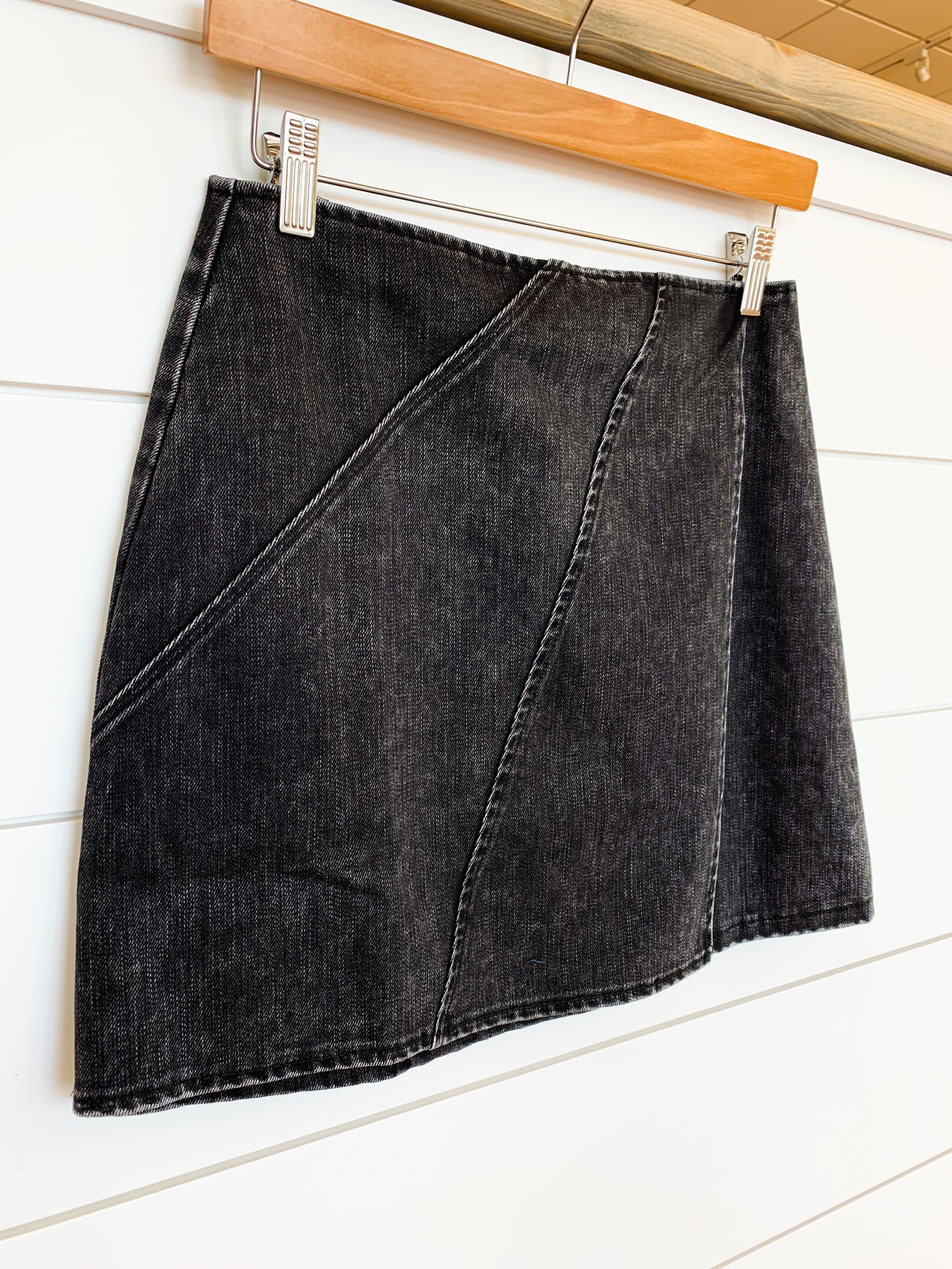 Black Washed Woven Wrap Mini Skirt