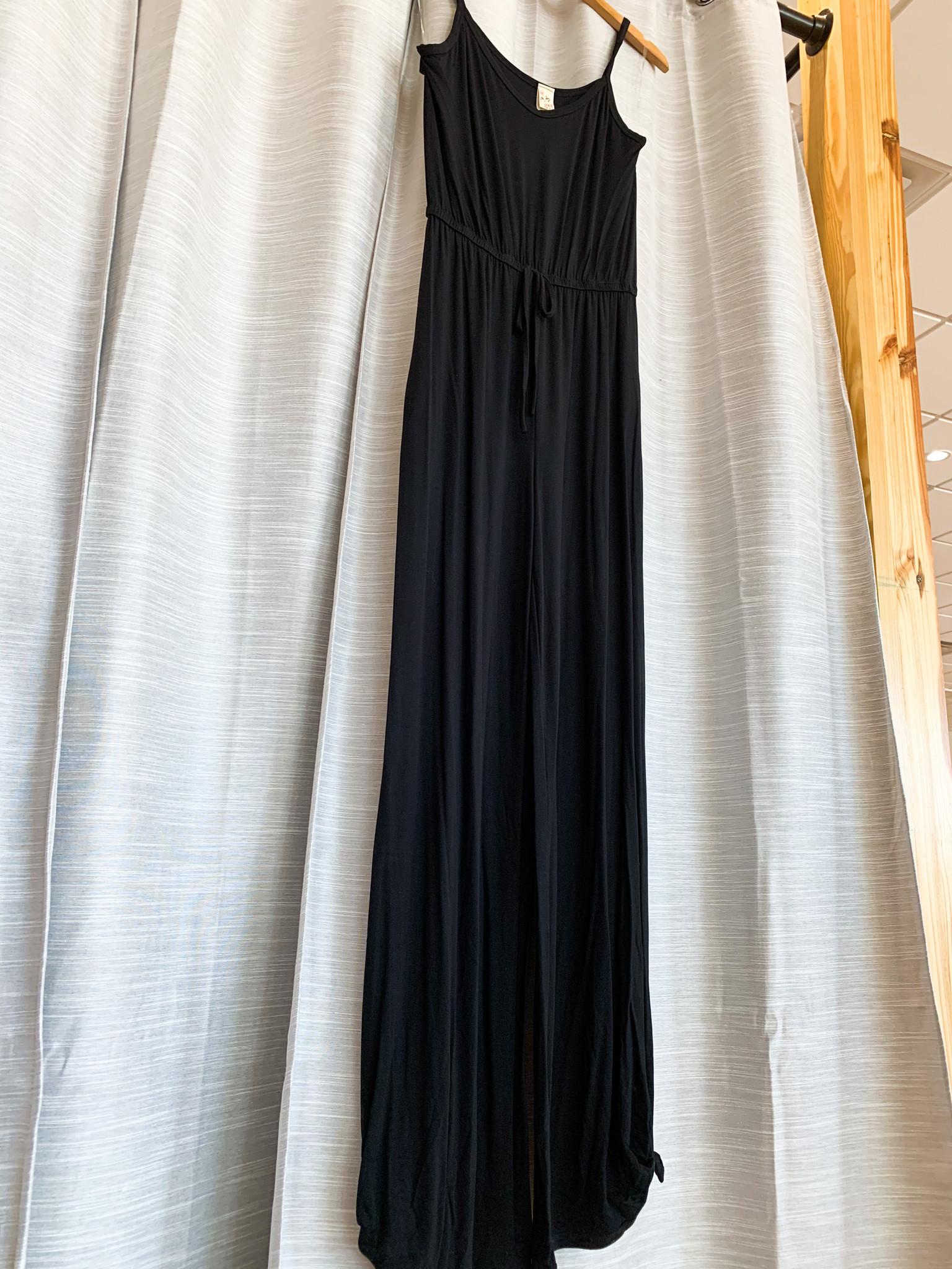 Black Spaghetti Strap Slide Slit Jumpsuit