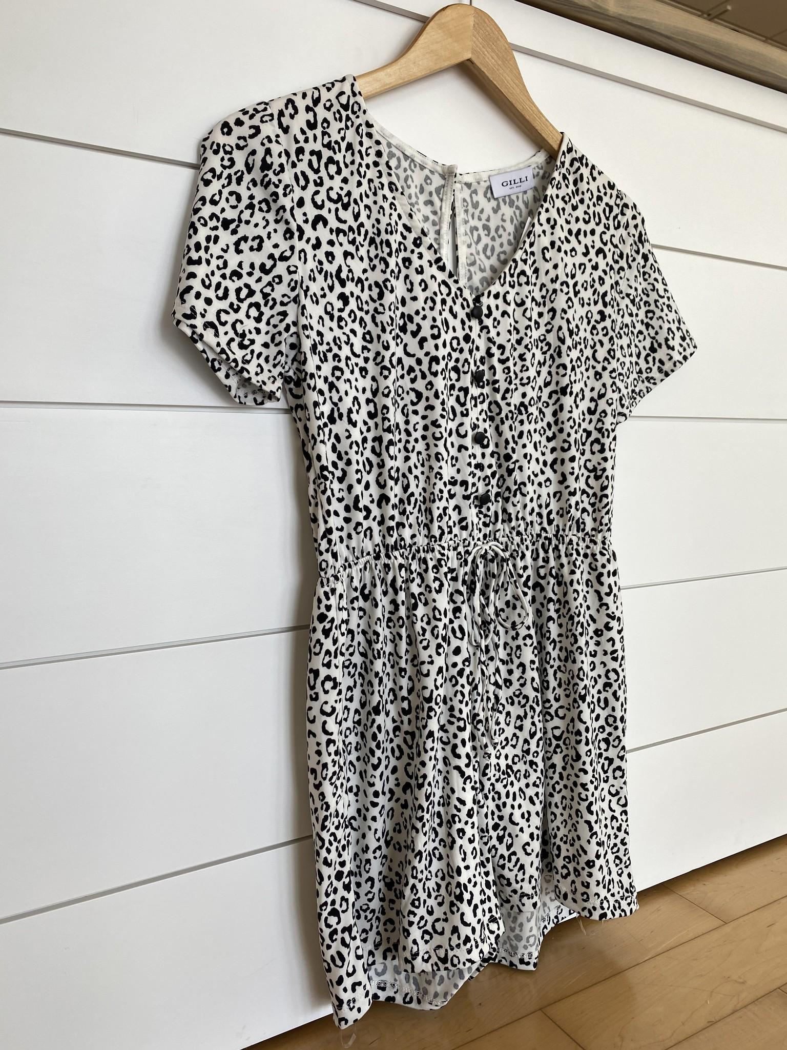 Ivory/Black Animal Print Front Tie Romper