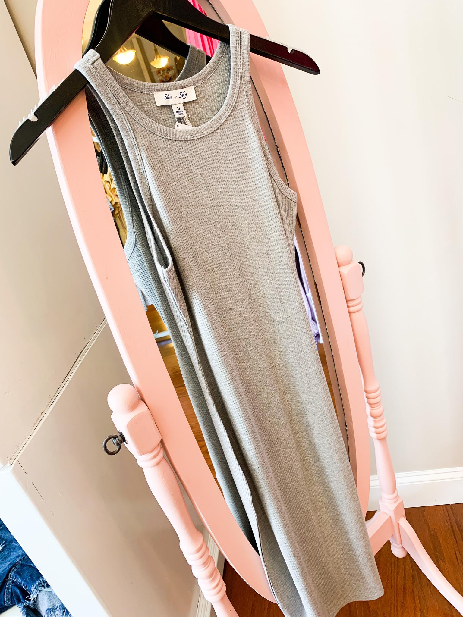 Rib Knit Basic Tank Midi Dress