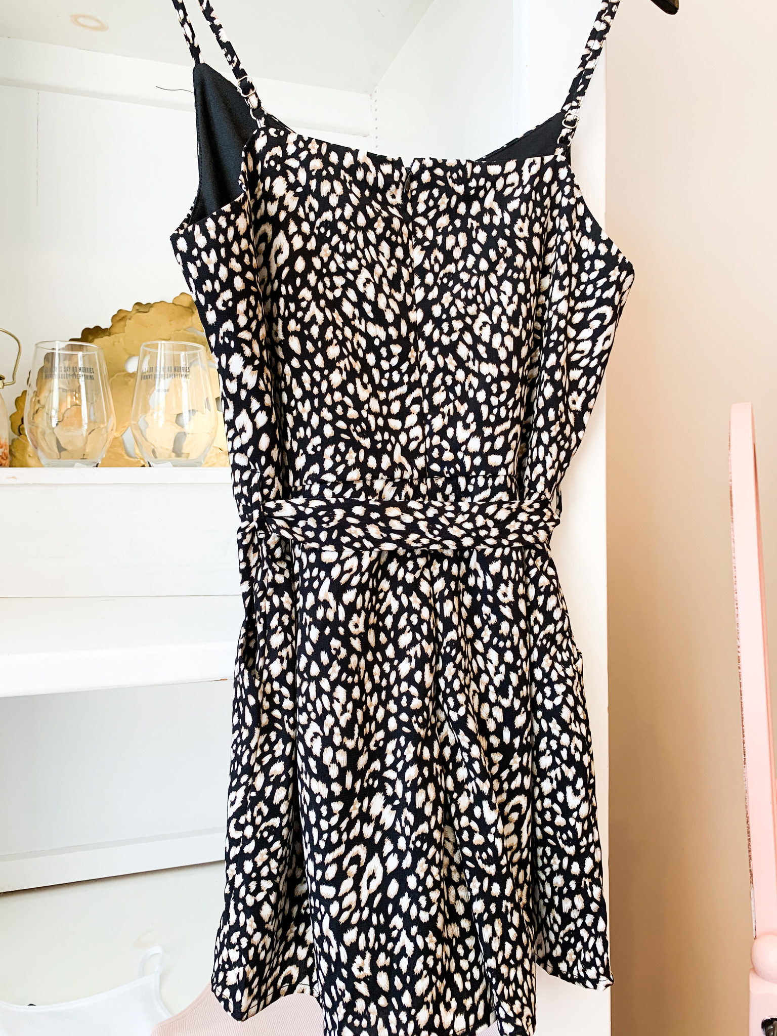 Black Animal Print Cami Romper