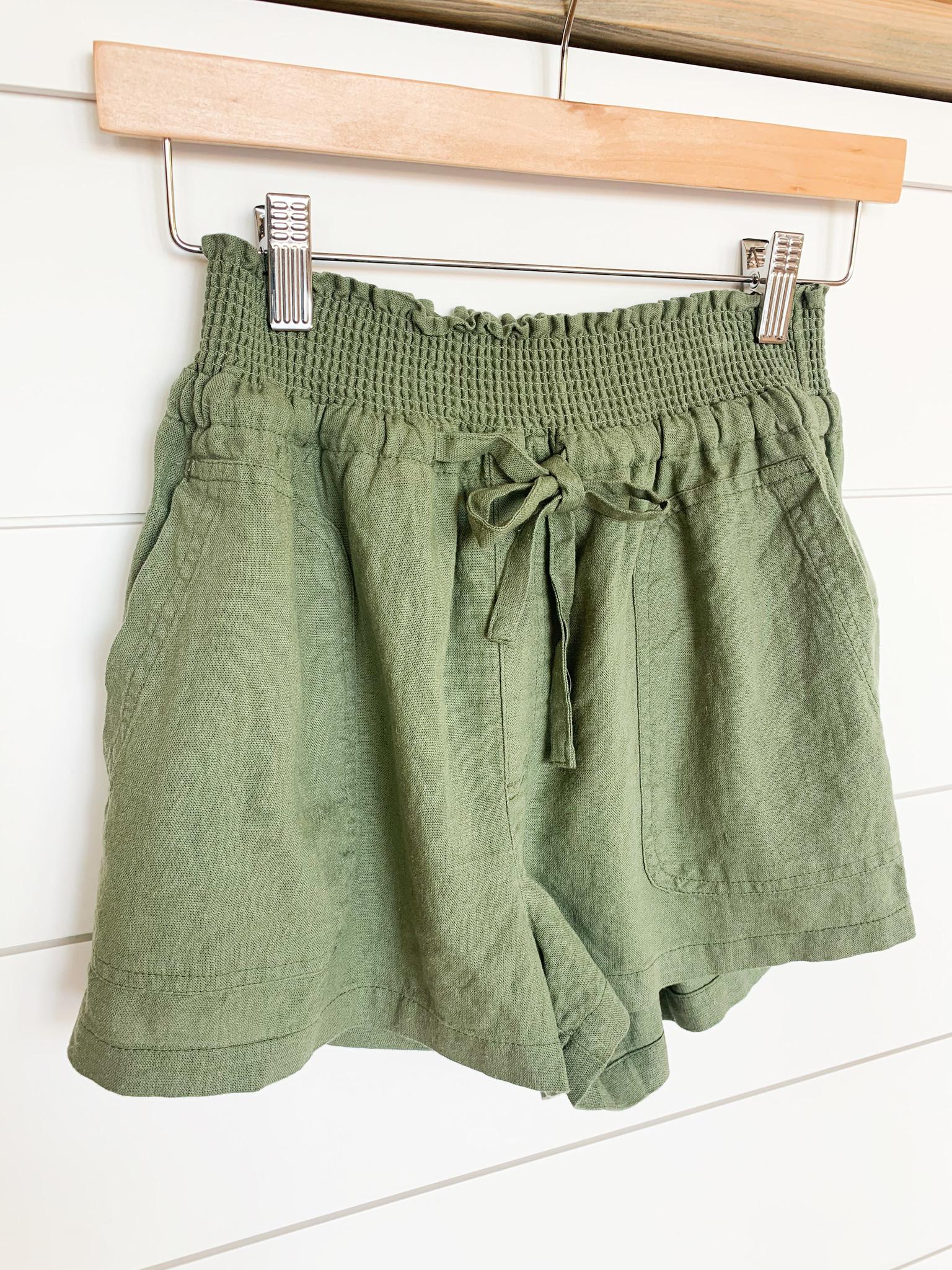 Lt. Olive Front Tie Shorts