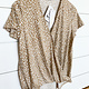 Taupe/White Surplice Animal Print Top
